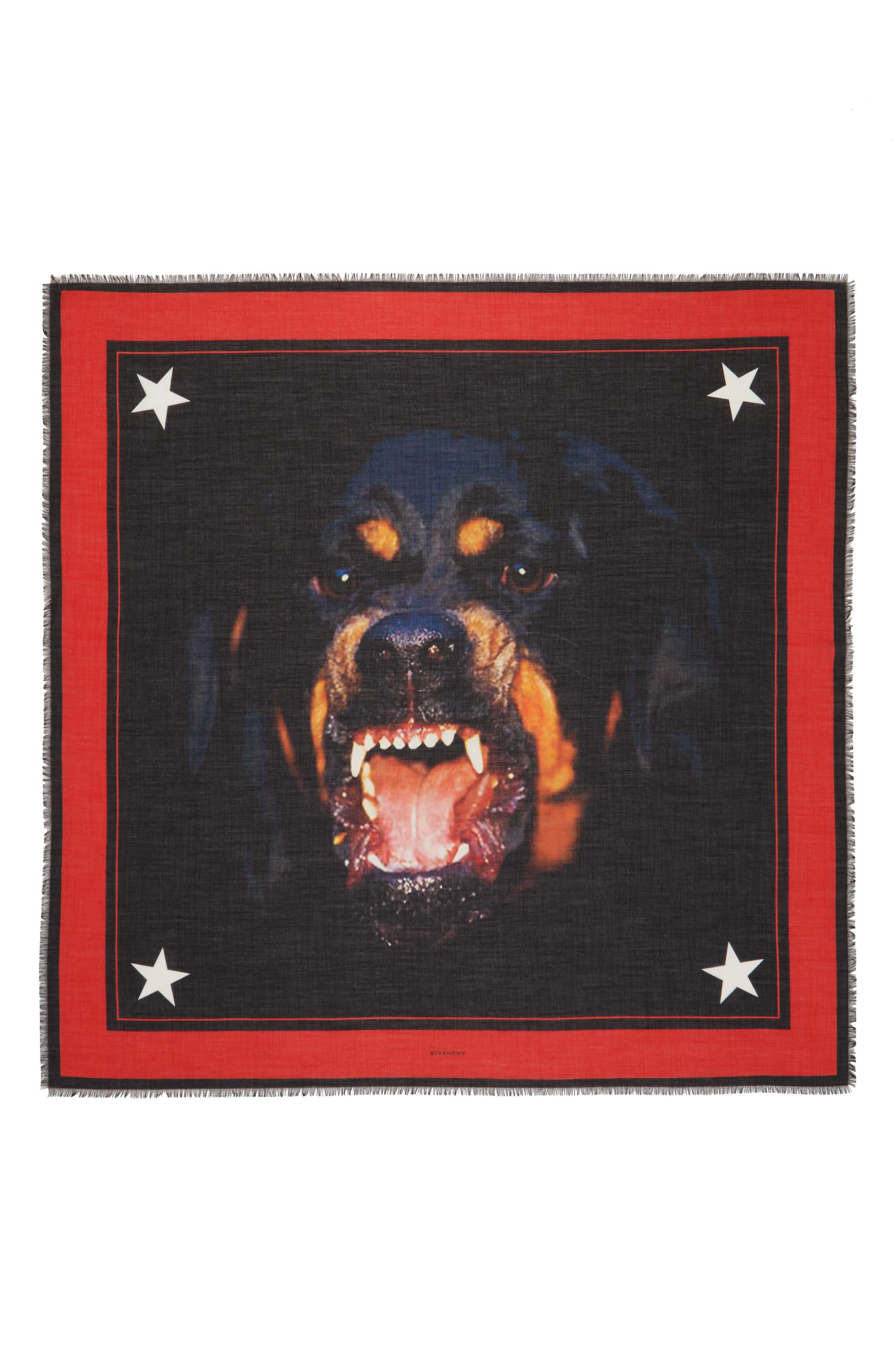 'Rottweiler' Silk Blend Scarf,                             Alternate thumbnail 7, color,