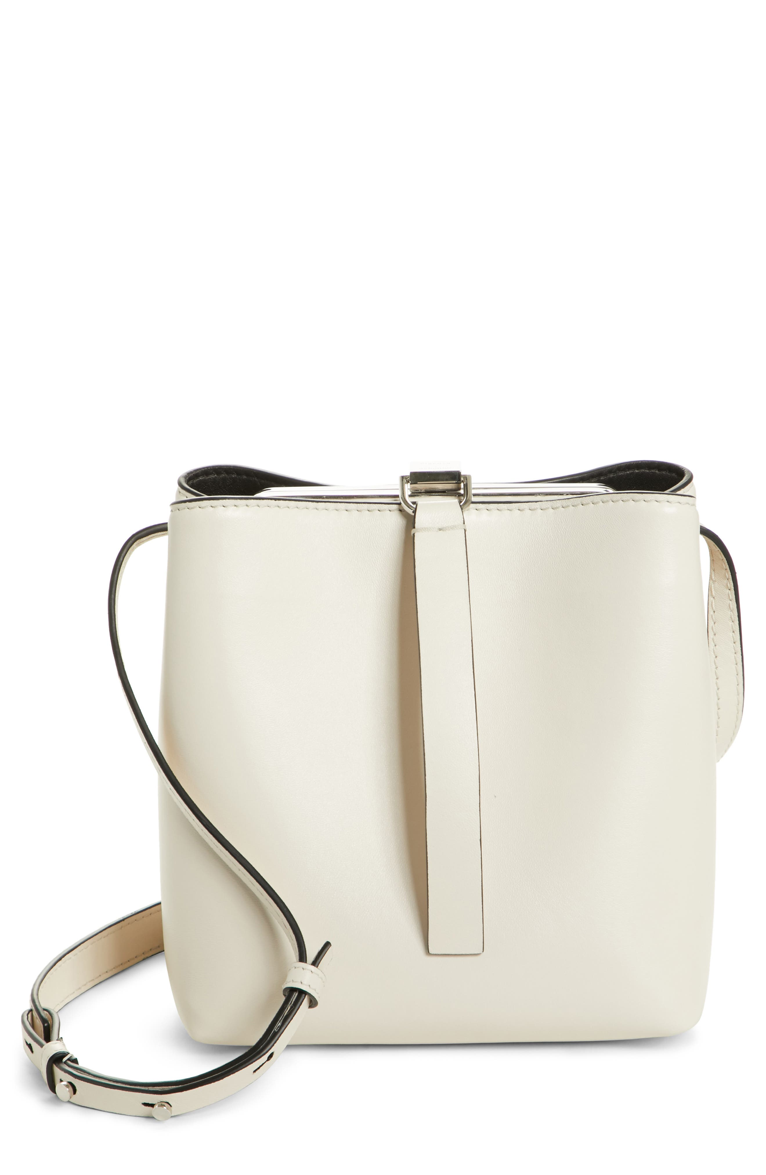 Frame Leather Crossbody Bag,                             Main thumbnail 1, color,                             CLAY/ BLACK