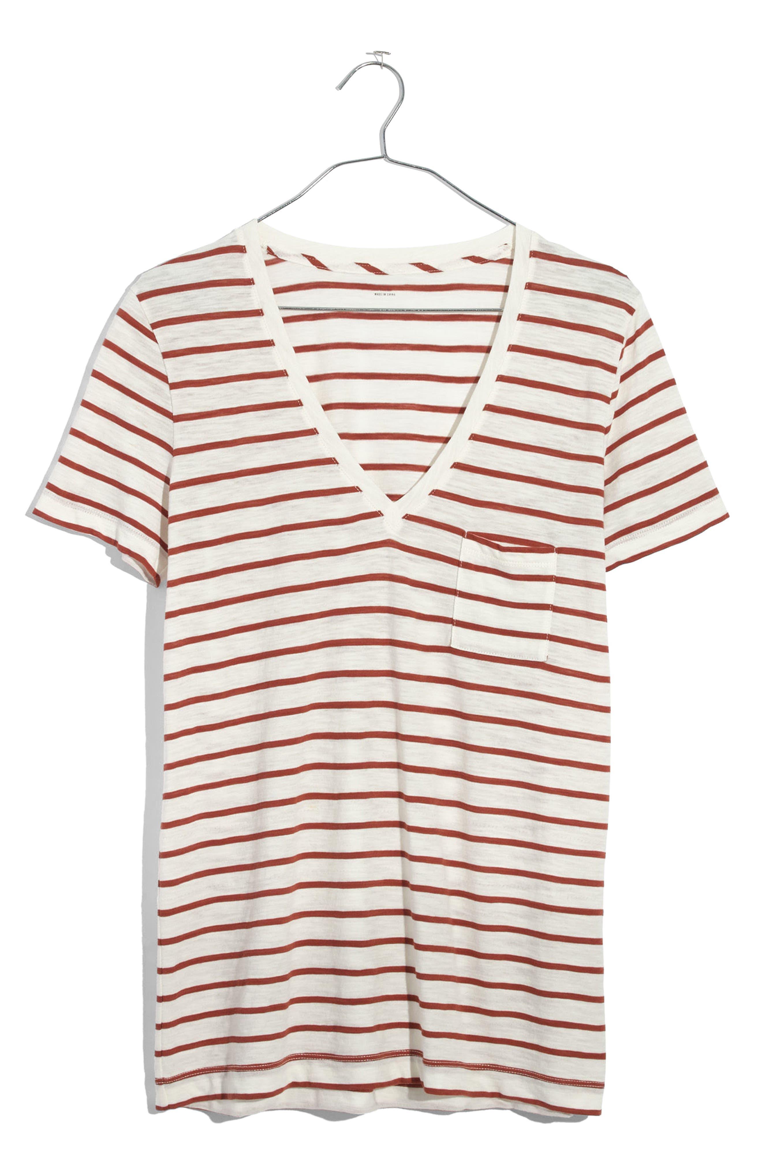 Whisper Cotton Stripe V-Neck Tee,                             Alternate thumbnail 6, color,                             100