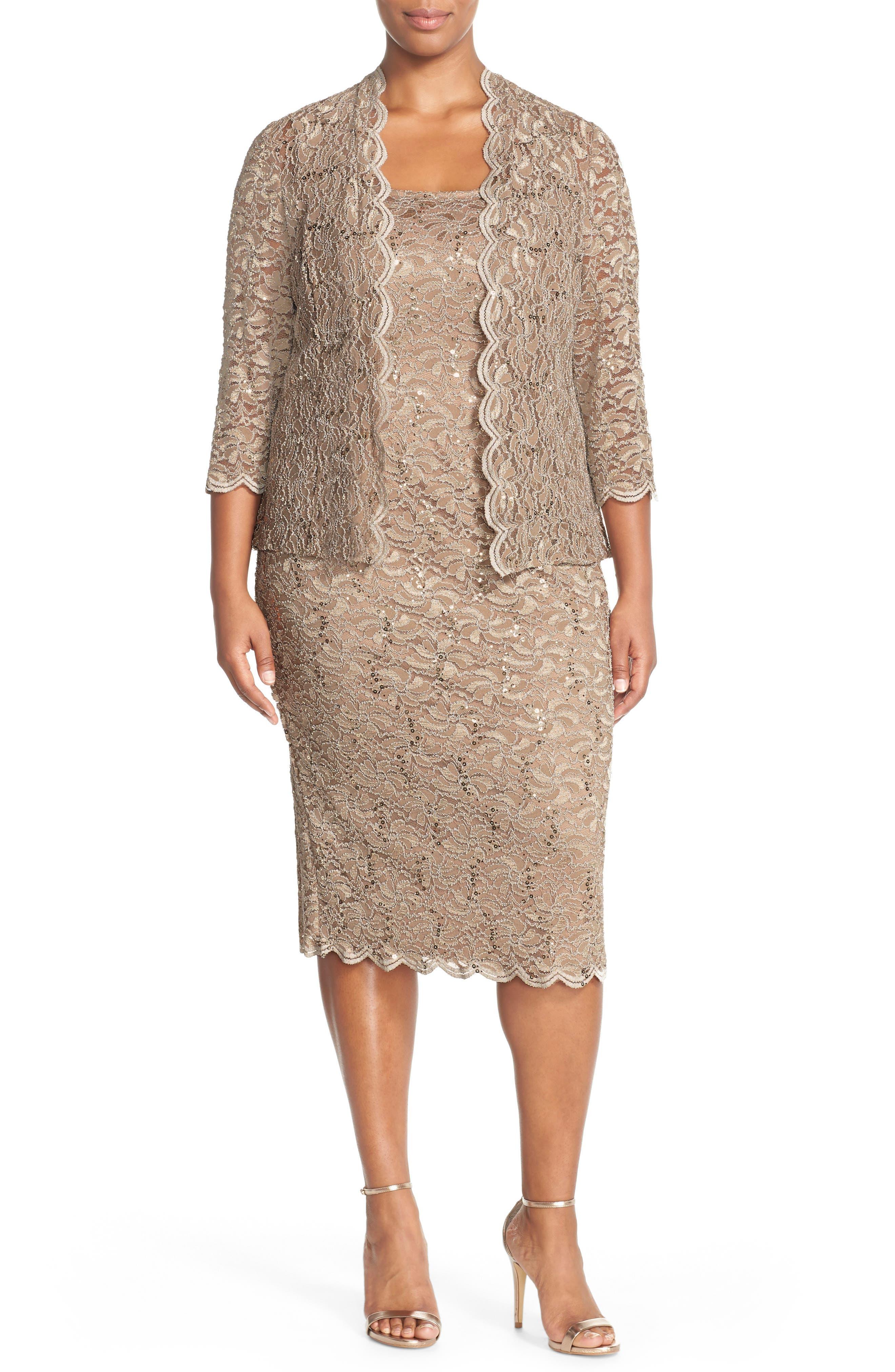 Lace Dress & Jacket,                             Alternate thumbnail 4, color,                             CHAMPAGNE