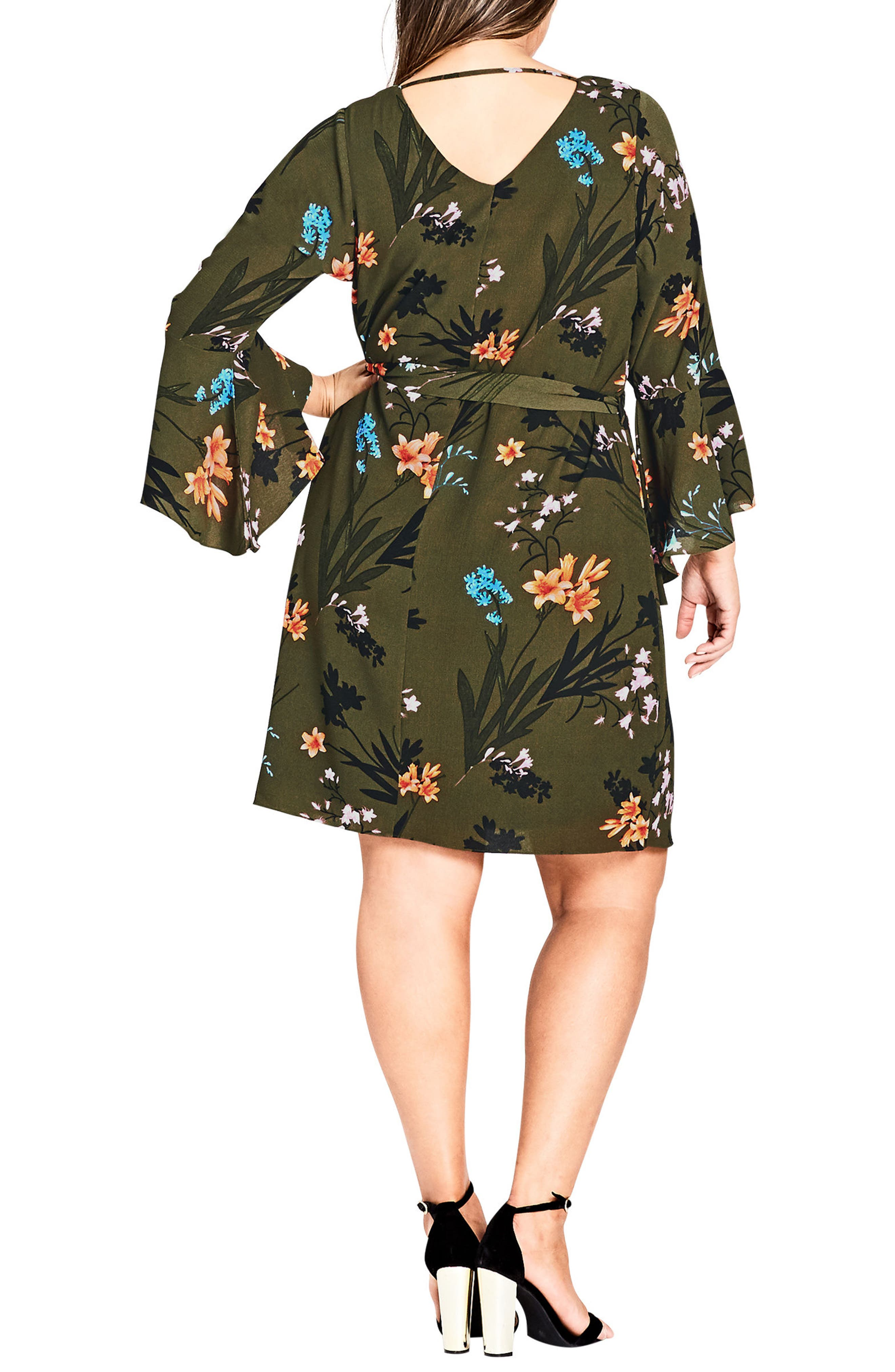 CITY CHIC,                             Jungle Floral Bell Sleeve Dress,                             Alternate thumbnail 2, color,                             309