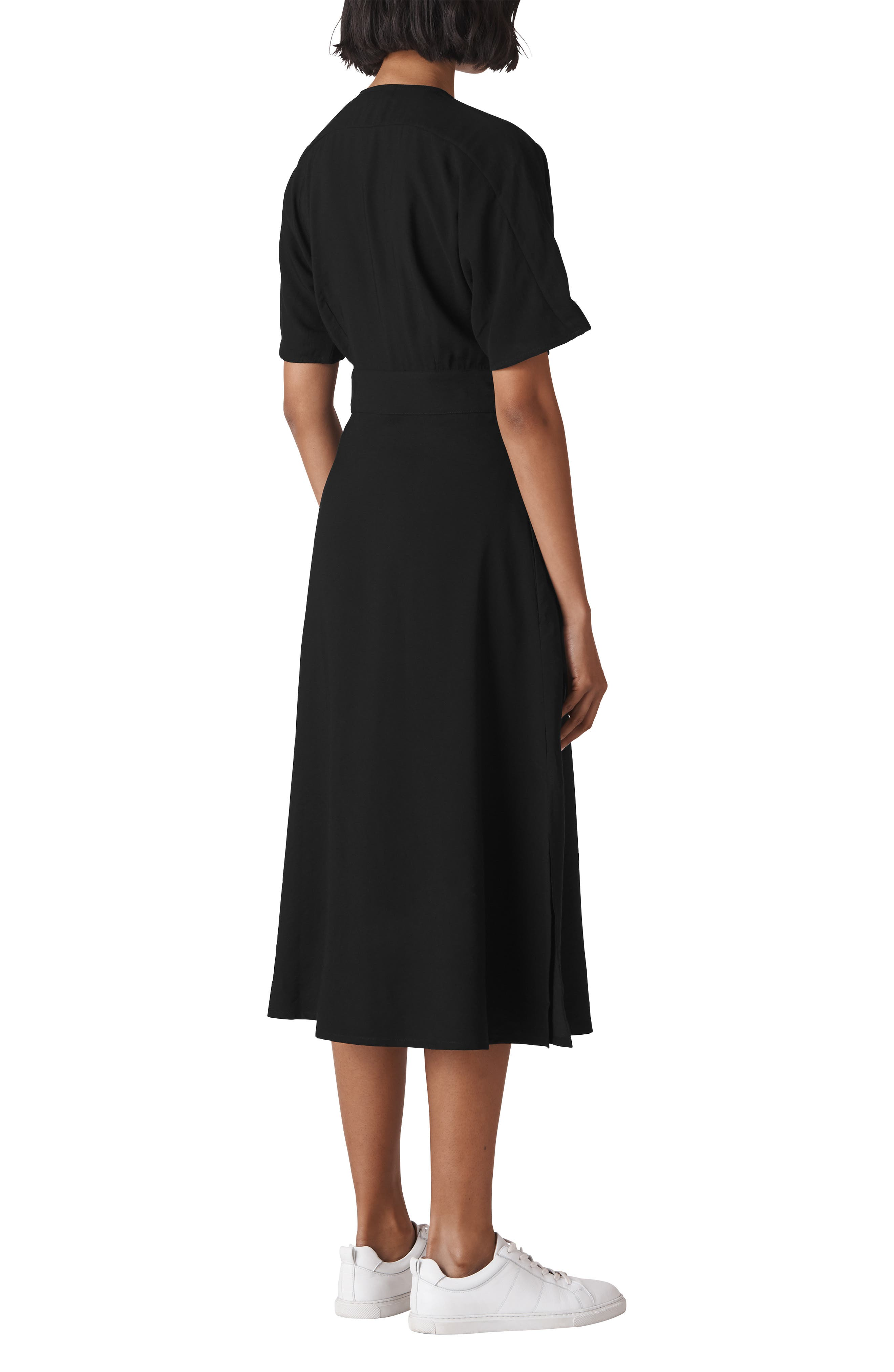 WHISTLES,                             Naya Button Dress,                             Alternate thumbnail 2, color,                             001