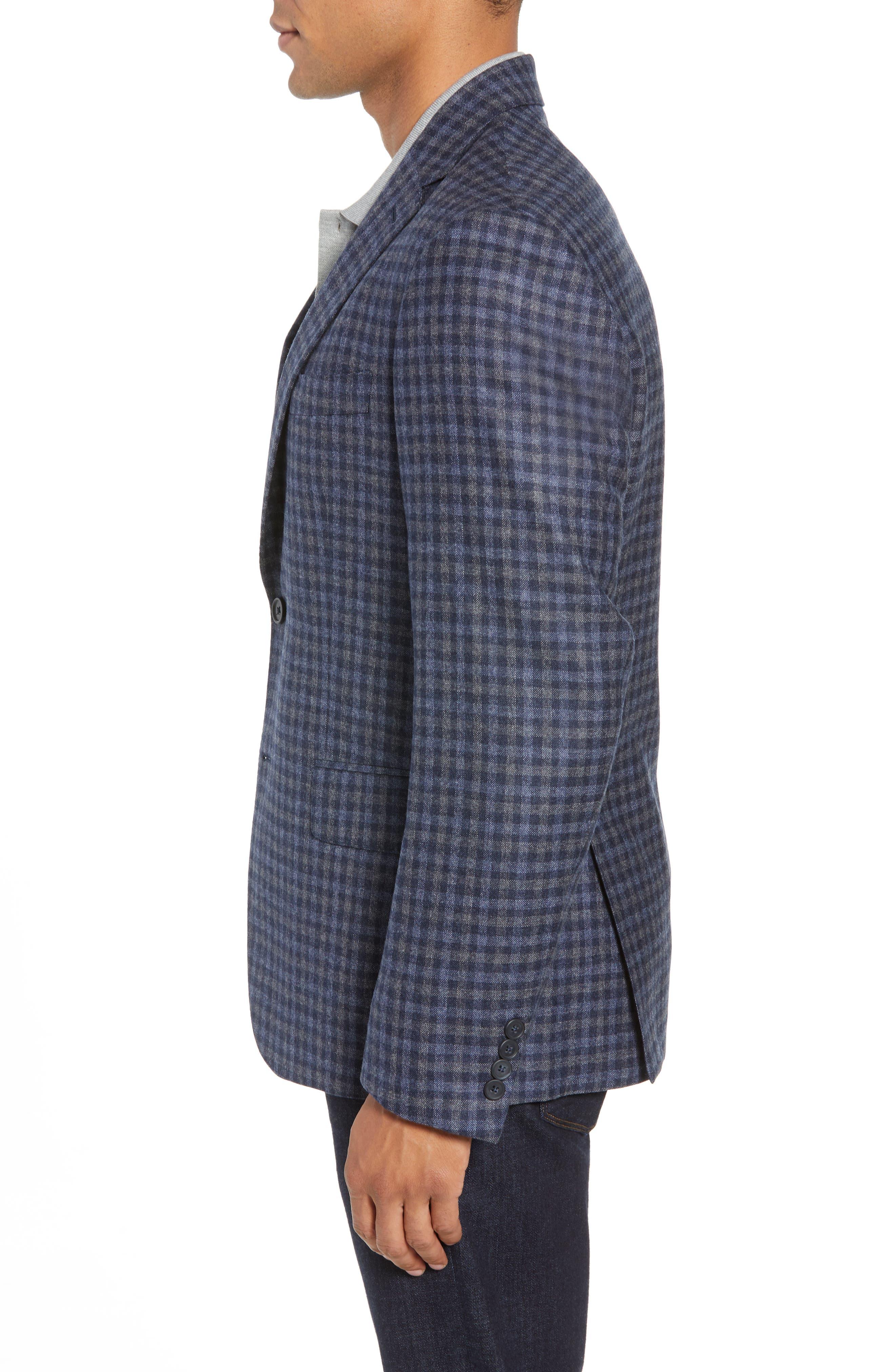 Traditional Fit Check Wool Sport Coat,                             Alternate thumbnail 3, color,                             DENIM BLUE