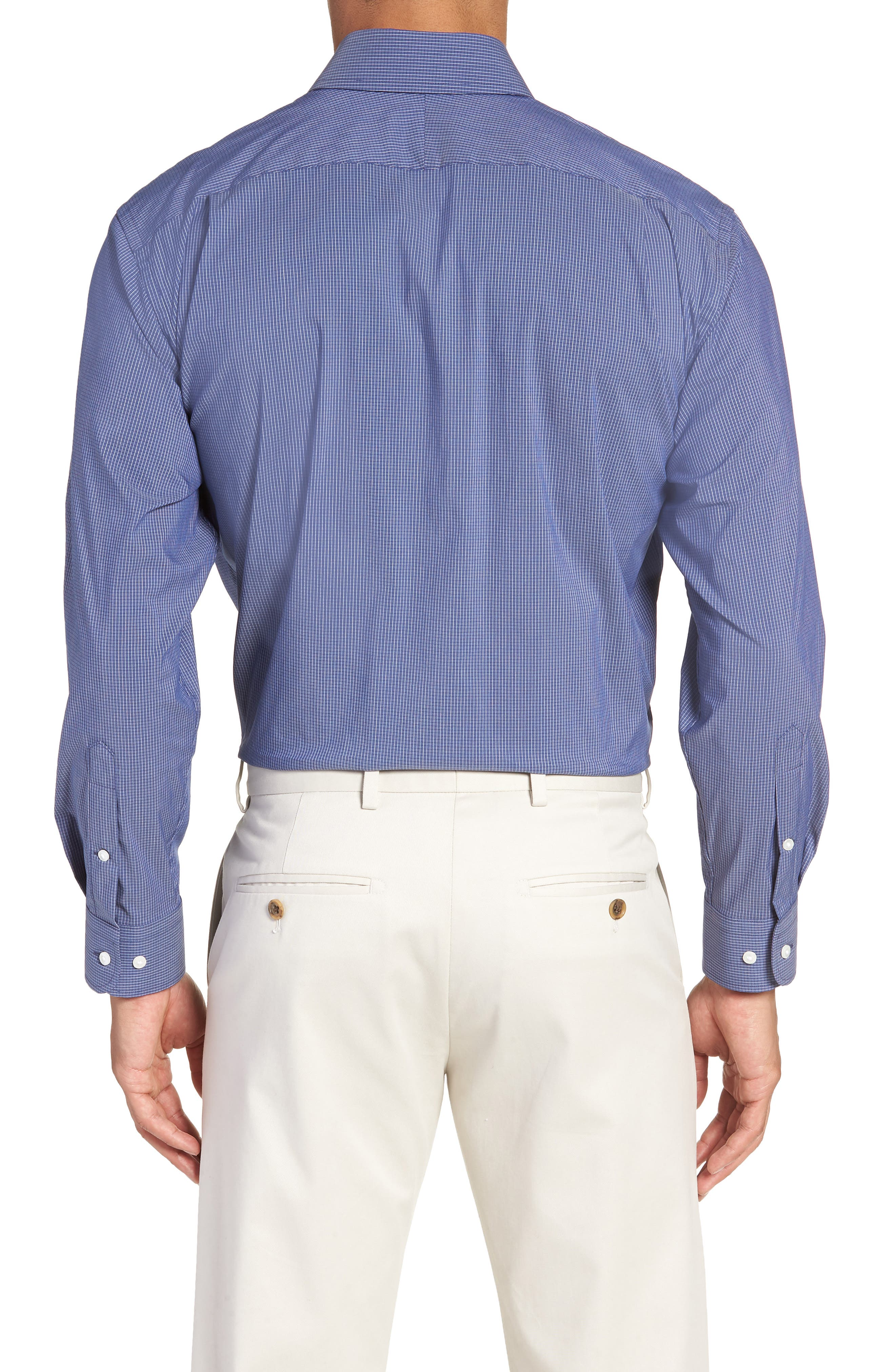 Traditional Fit Stretch Check Dress Shirt,                             Alternate thumbnail 5, color,
