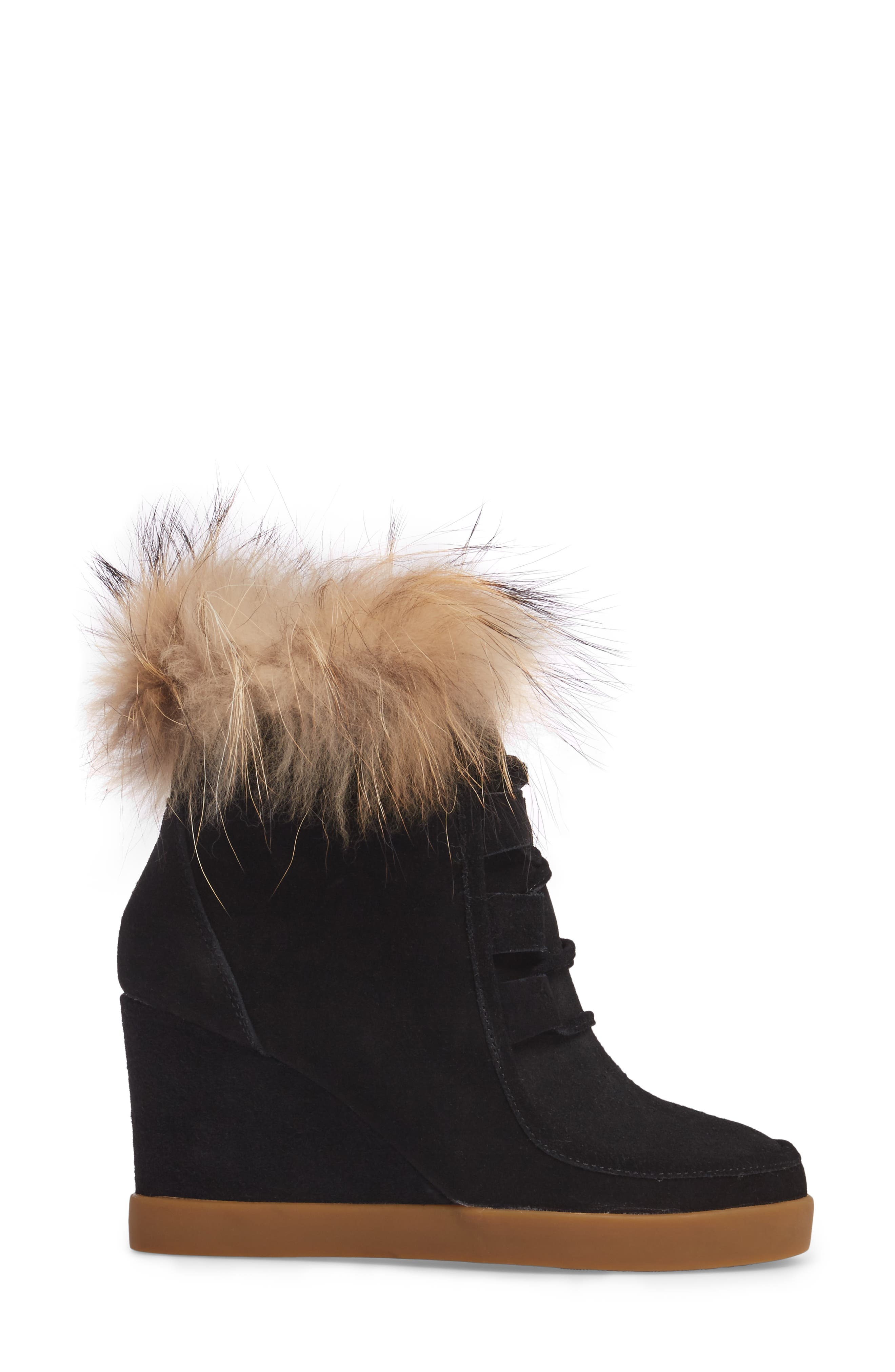 Holly Wedge Bootie with Genuine Fox Fur Trim,                             Alternate thumbnail 3, color,                             BLACK SUEDE
