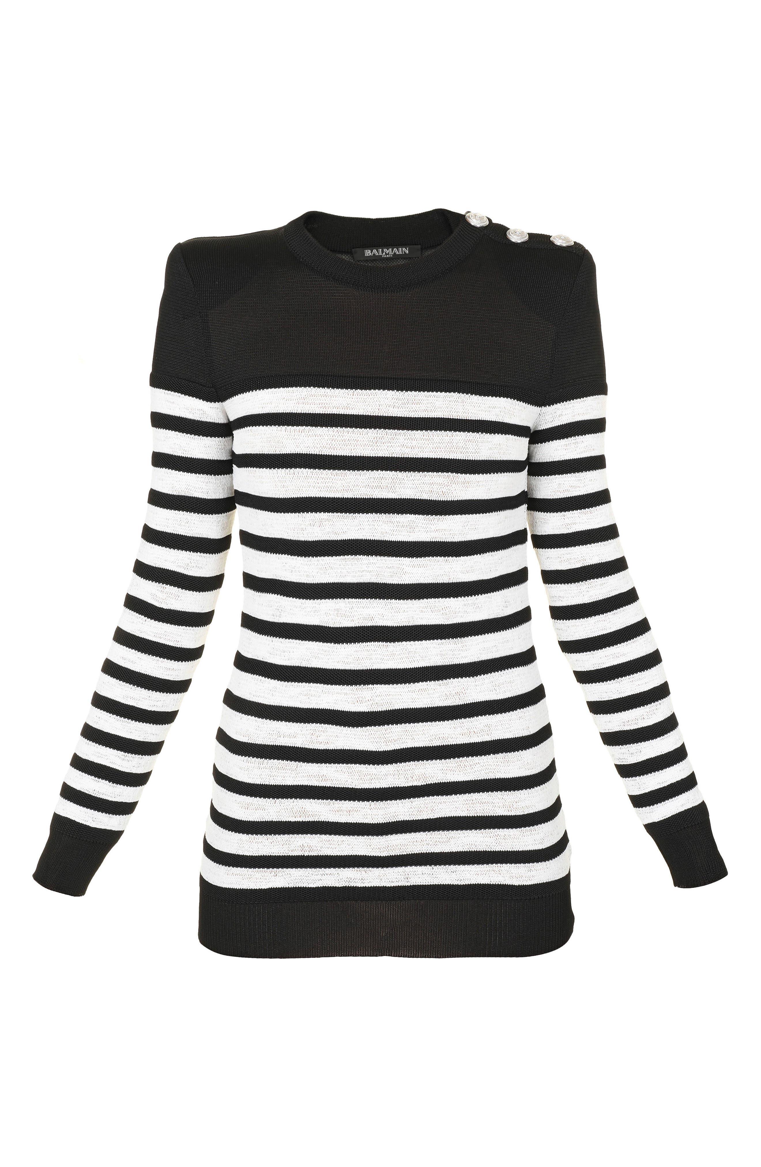 Marine Stripe Knit Sweater,                             Alternate thumbnail 6, color,                             002