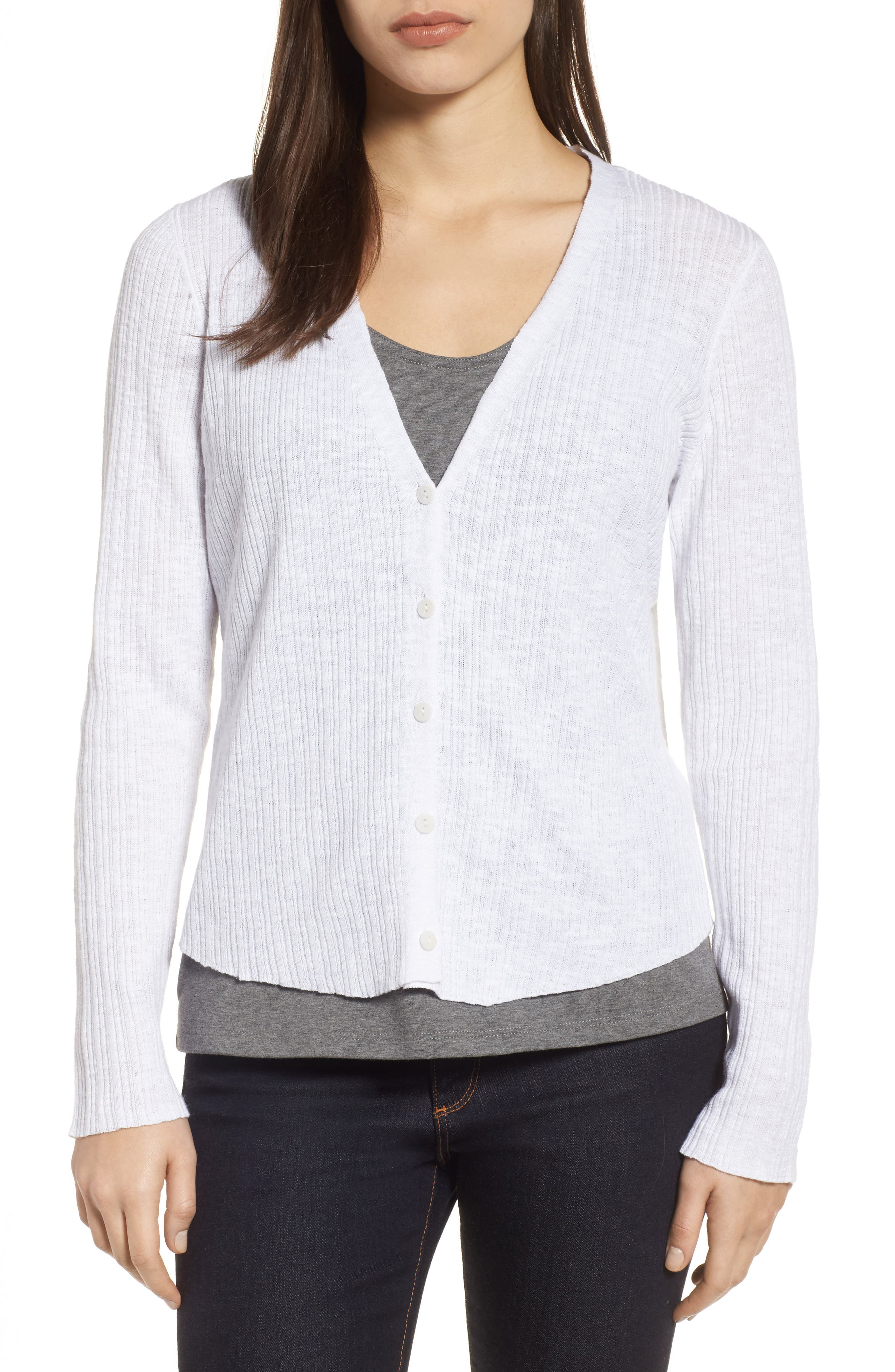 V-Neck Organic Linen & Cotton Cardigan,                         Main,                         color, 100