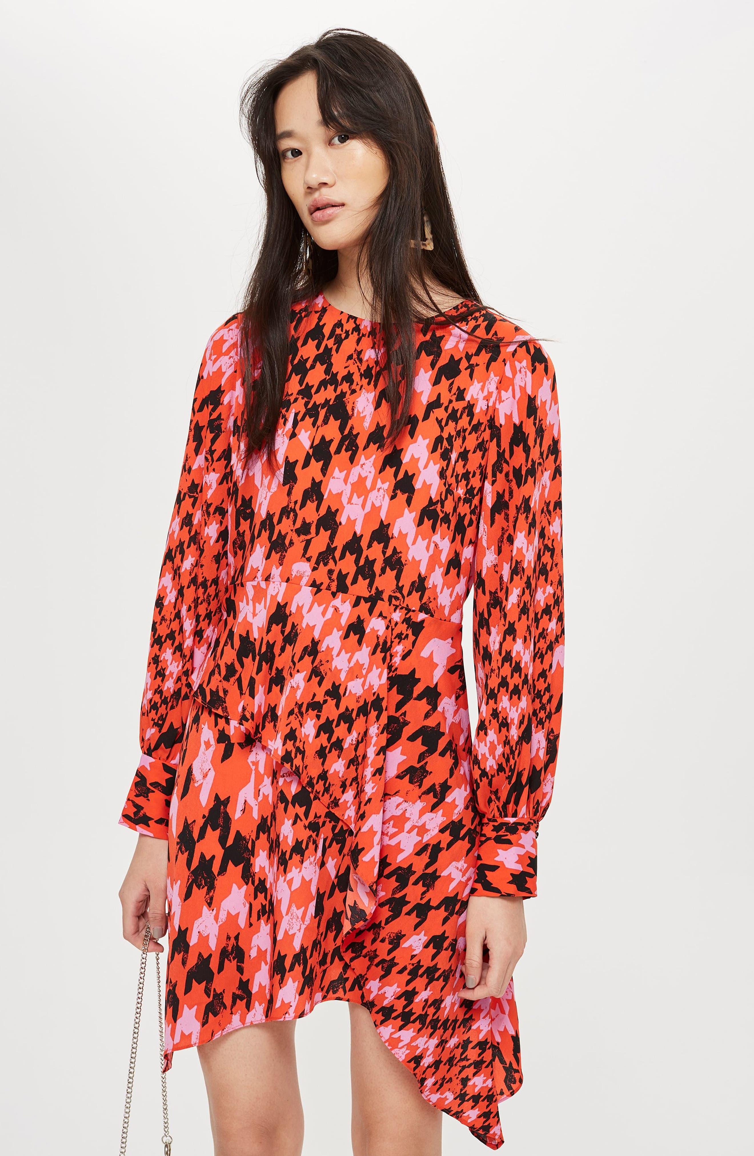 Houndstooth Asymmetrical Sheath Dress,                             Alternate thumbnail 6, color,                             RED MULTI