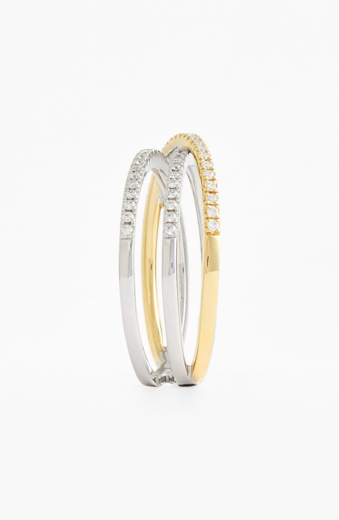Crossover Three-Row Diamond Ring,                             Alternate thumbnail 19, color,