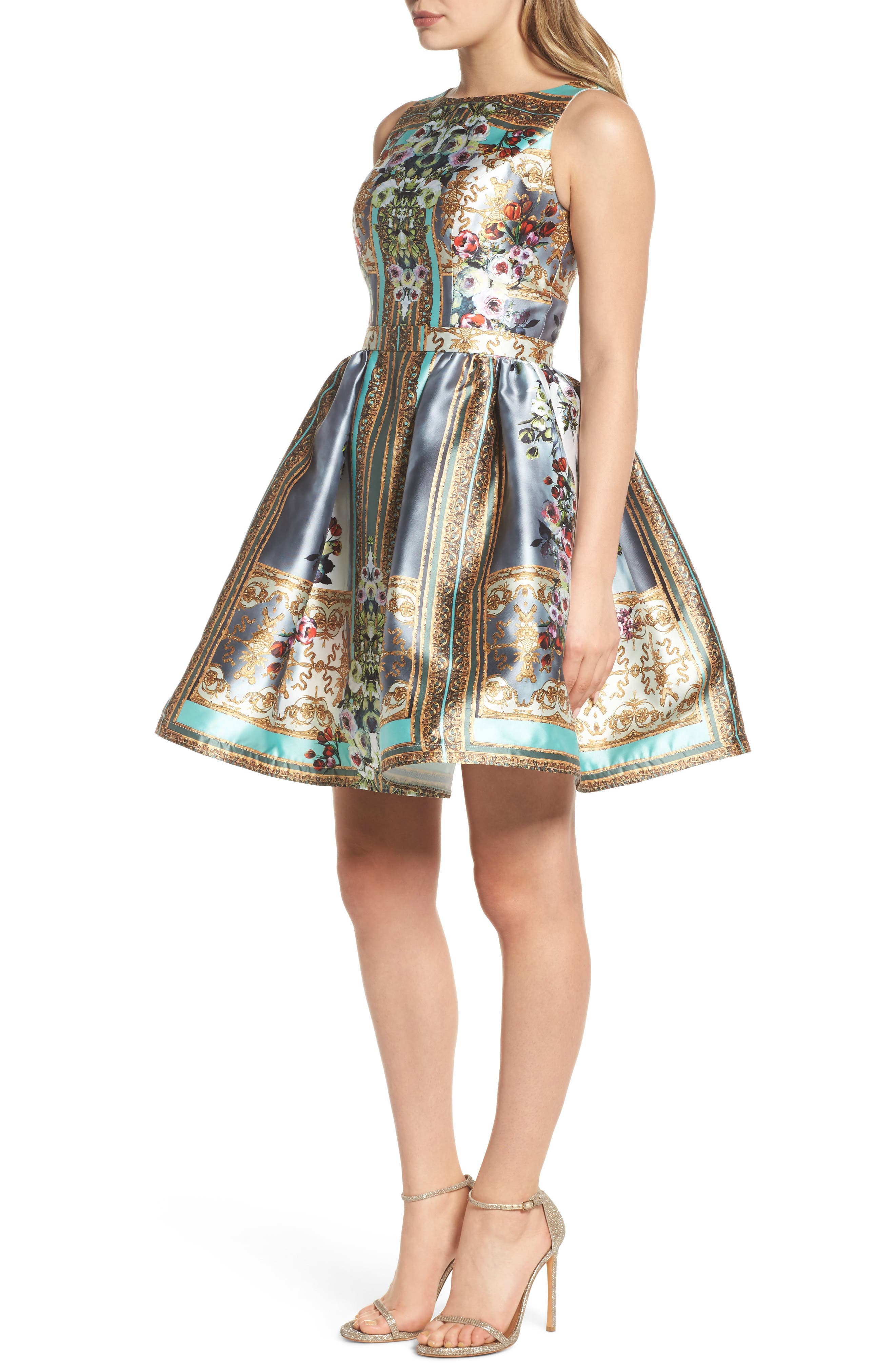 Mirror Fit & Flare Dress,                             Alternate thumbnail 3, color,