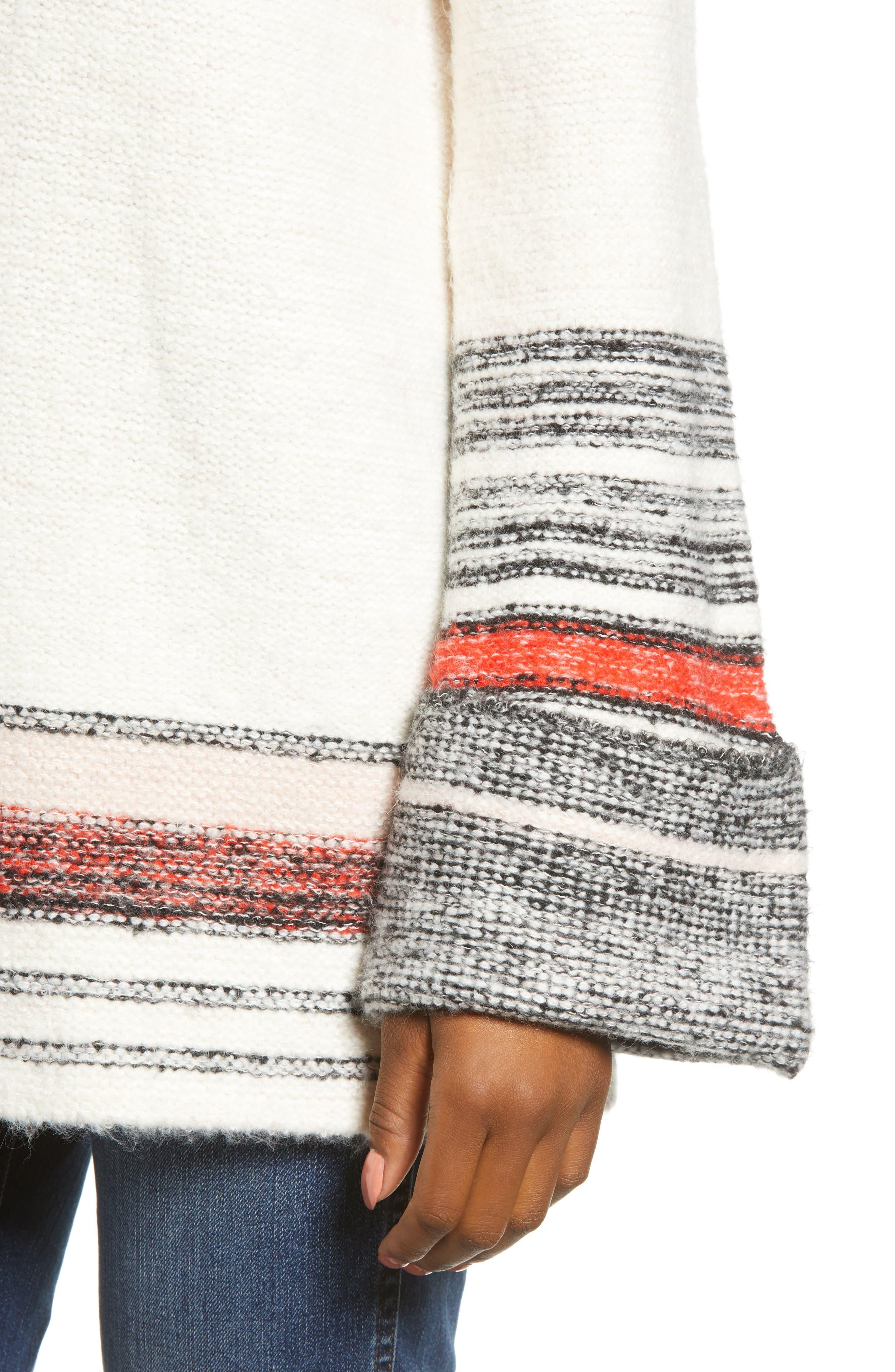 Border Stripe Sweater,                             Alternate thumbnail 4, color,                             IVORY COMBO