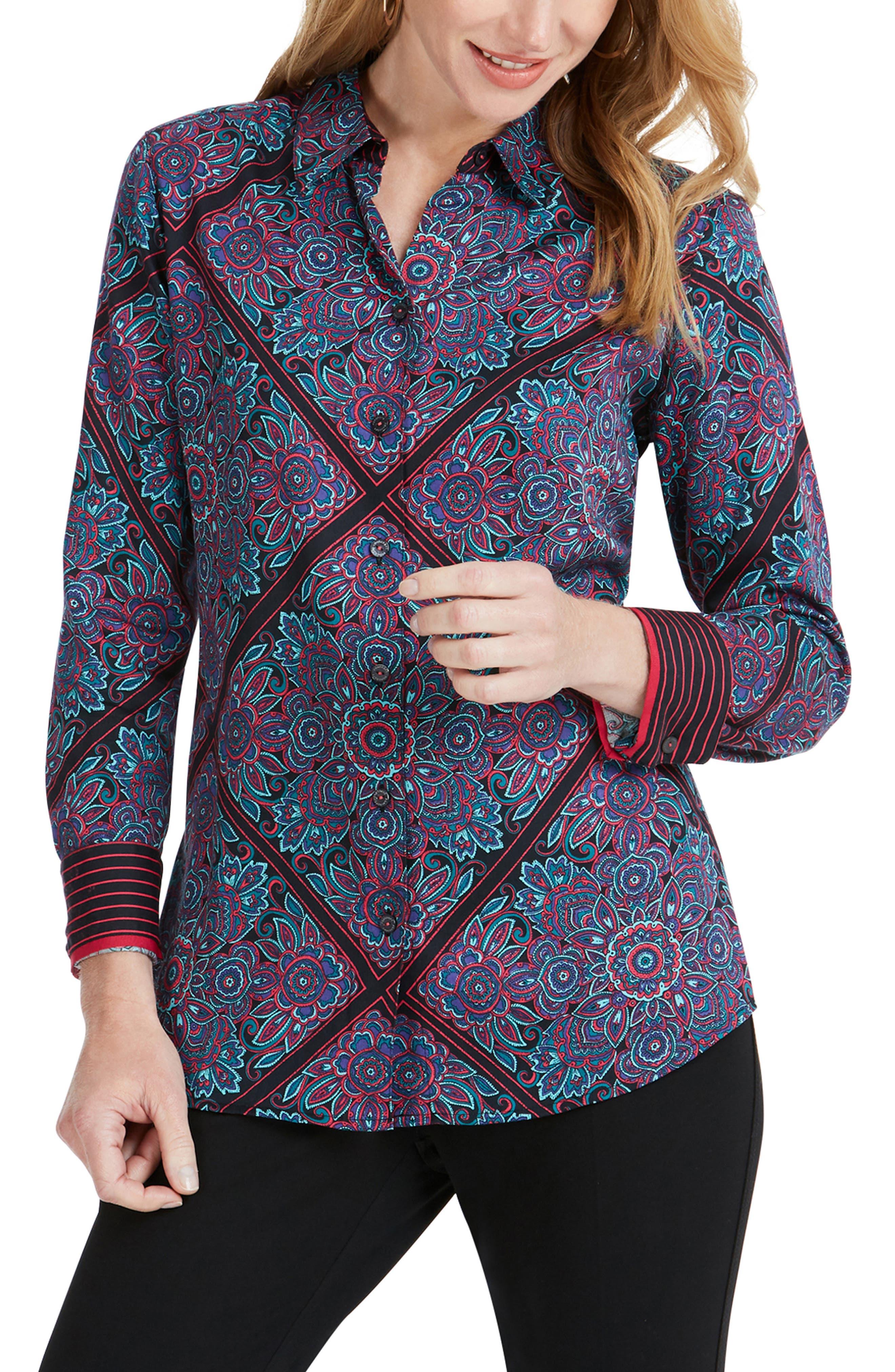 Addison Diamond Paisley Shirt in Multi