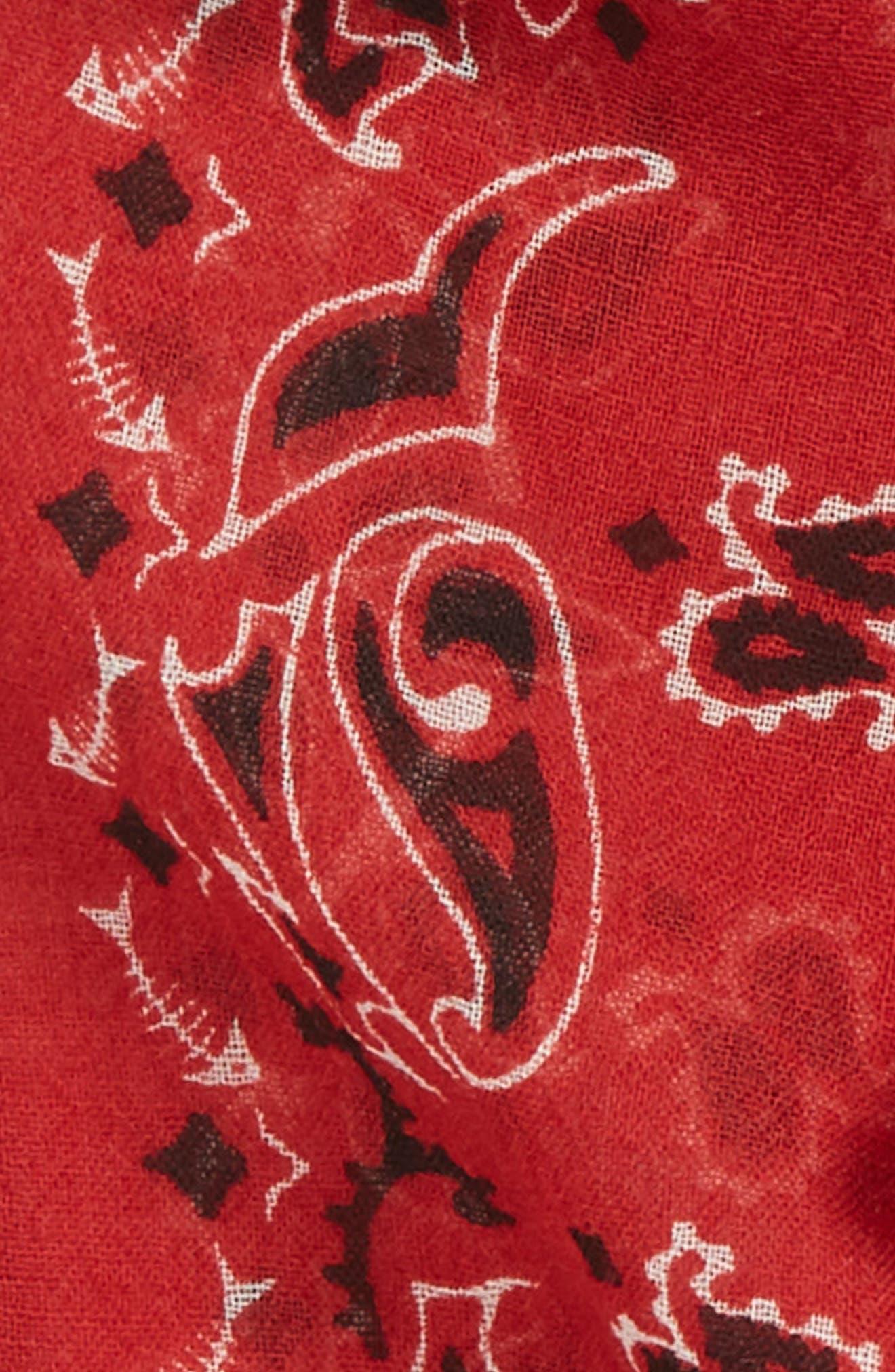 Skull et Coeur Laval Skinny Wool Scarf,                             Alternate thumbnail 3, color,                             ROUGE/ IVORY