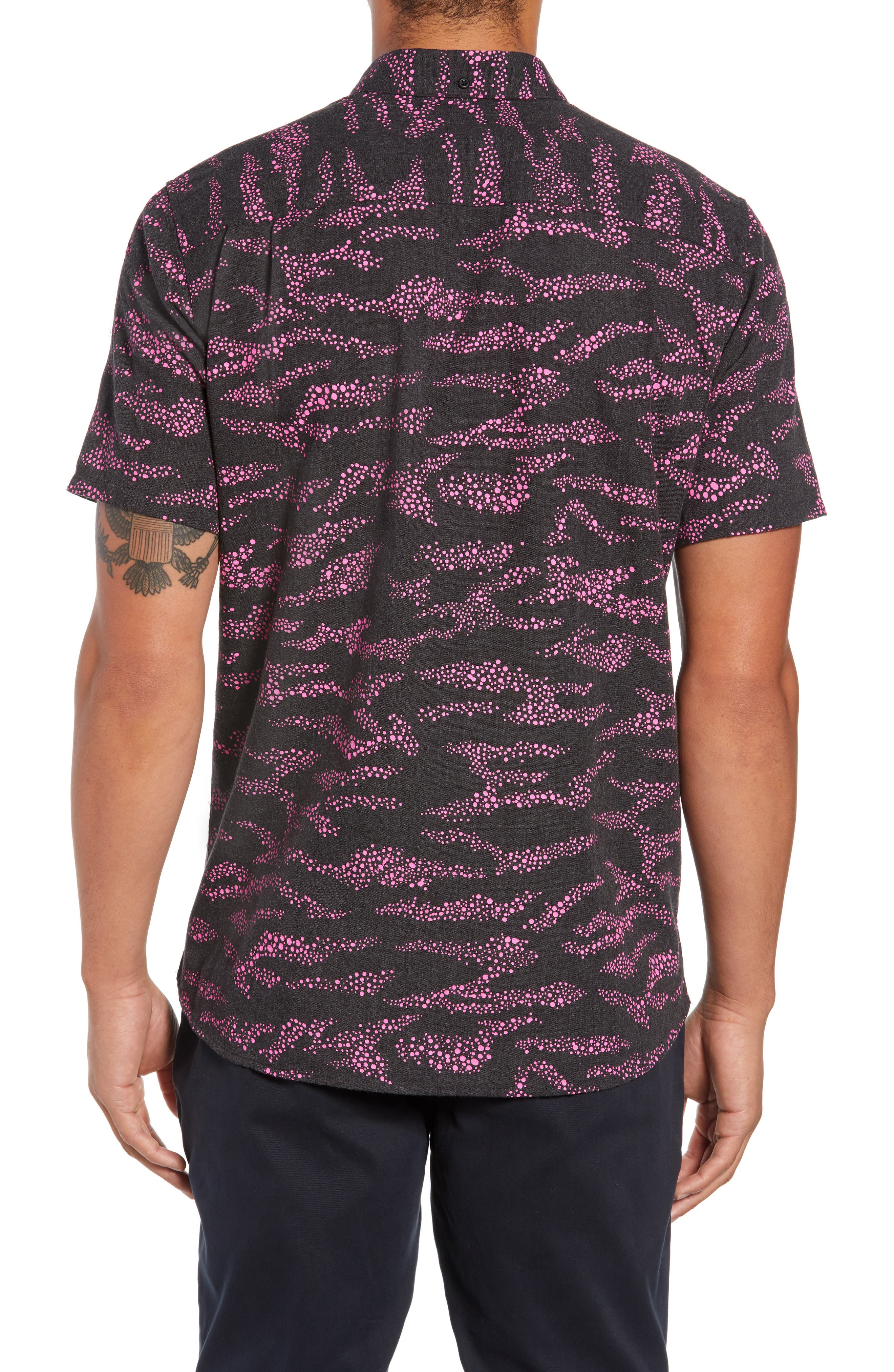 Outcast Woven Shirt,                             Alternate thumbnail 3, color,                             BLACK HEATHER
