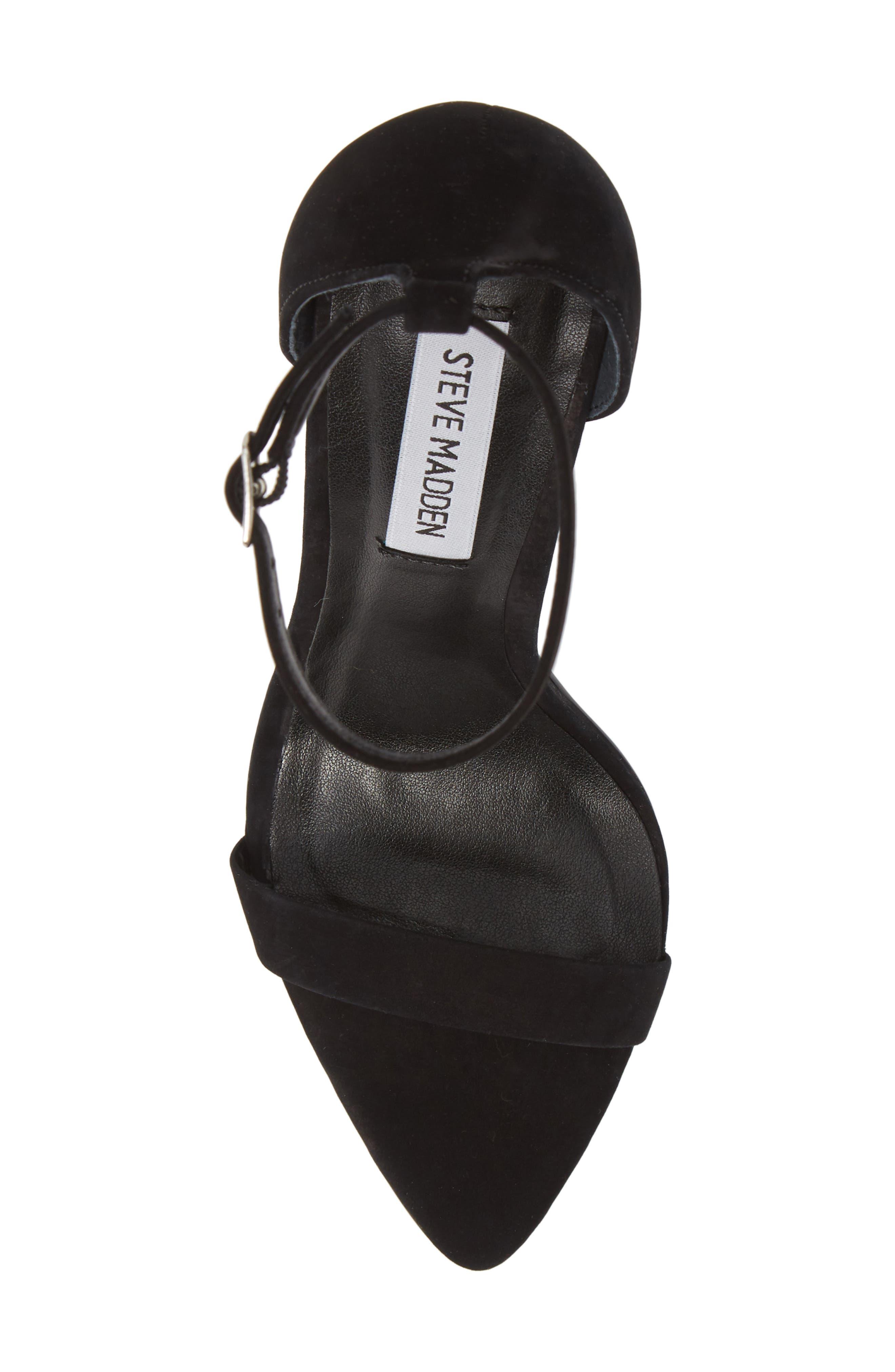 Ankle Strap Sandal,                             Alternate thumbnail 5, color,                             BLACK NUBUCK