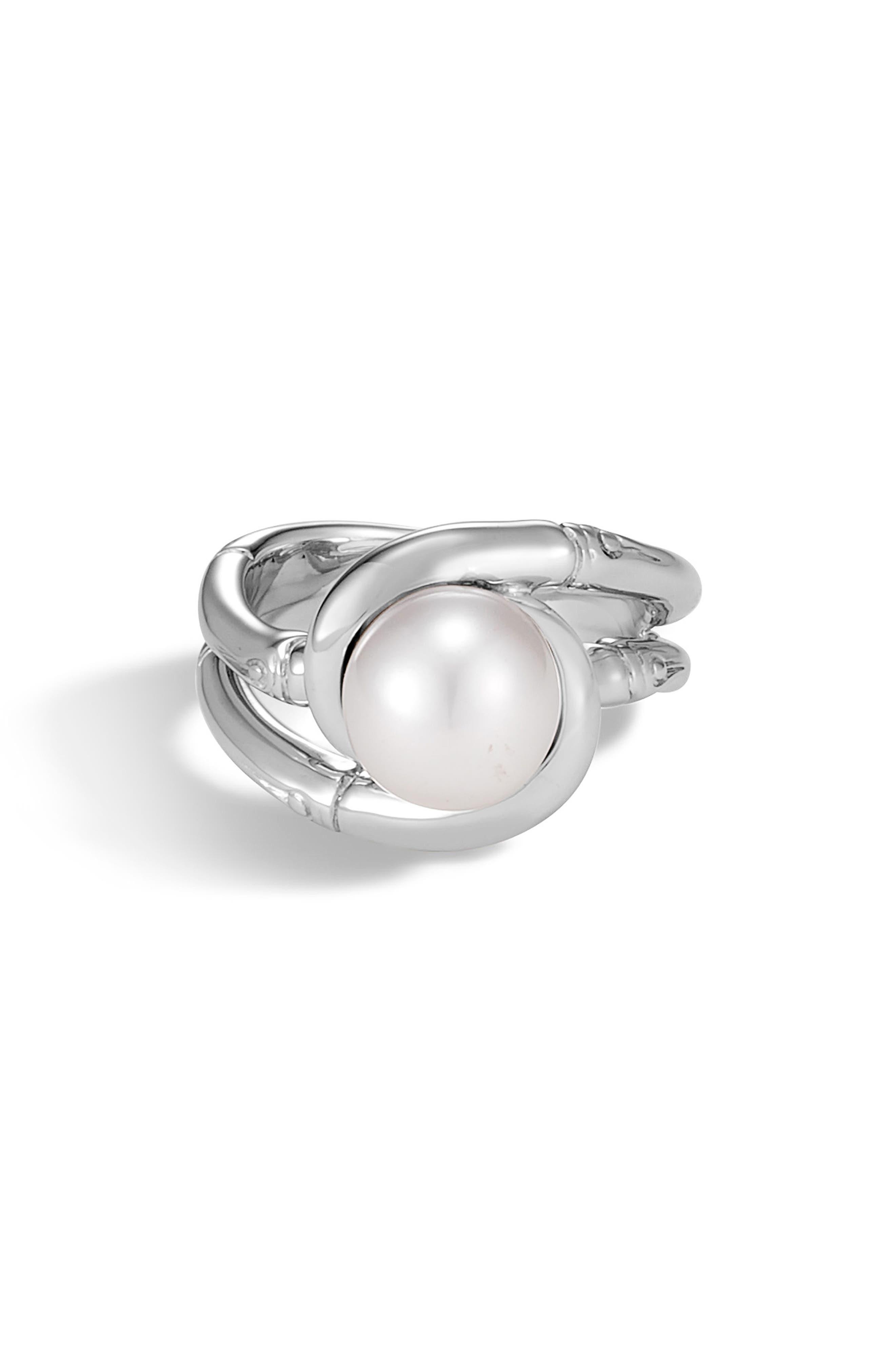 Bamboo Pearl Ring,                             Main thumbnail 1, color,                             SILVER/ PEARL