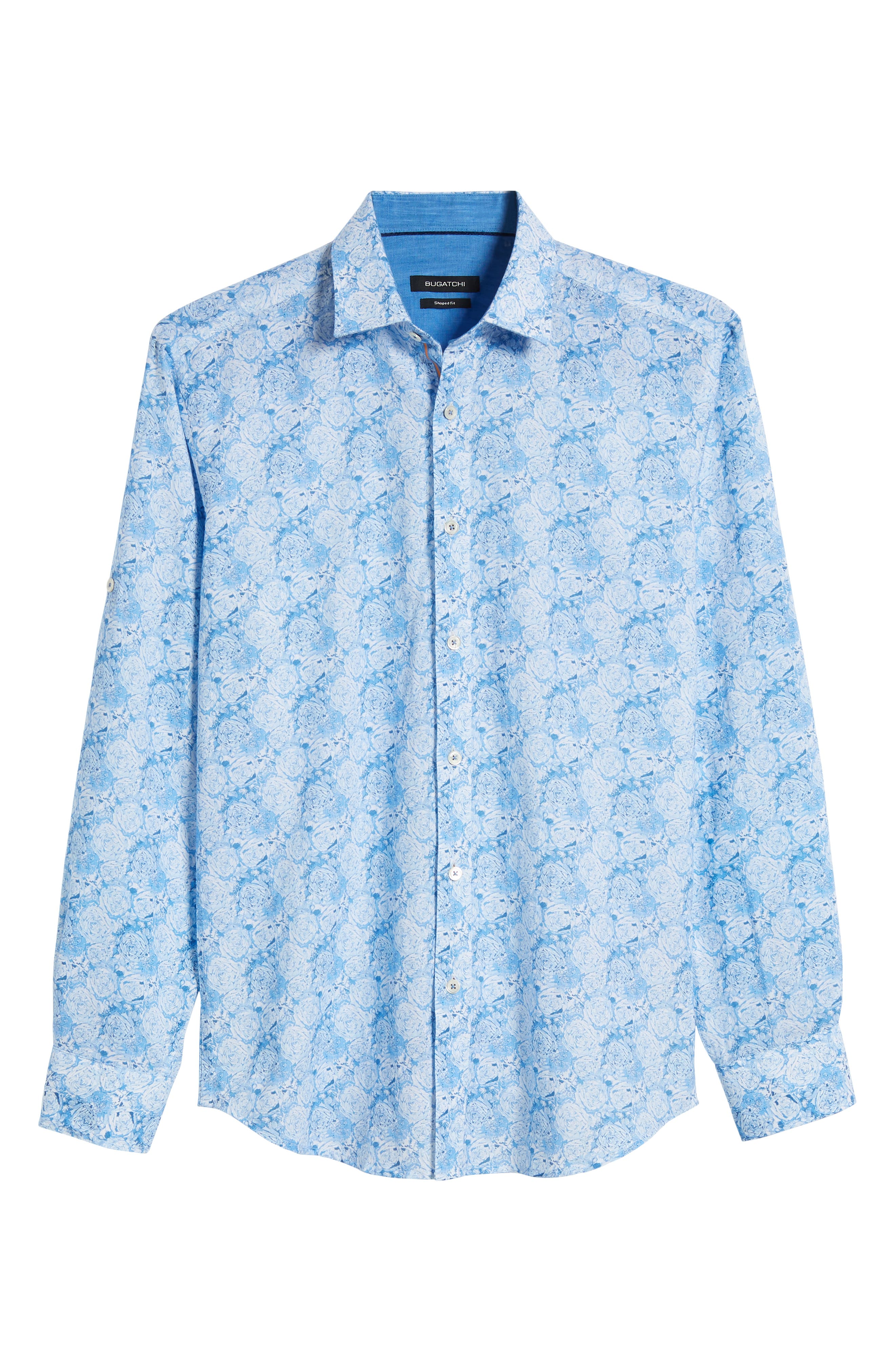 Shaped Fit Rose Print Linen Blend Sport Shirt,                             Alternate thumbnail 6, color,                             SKY