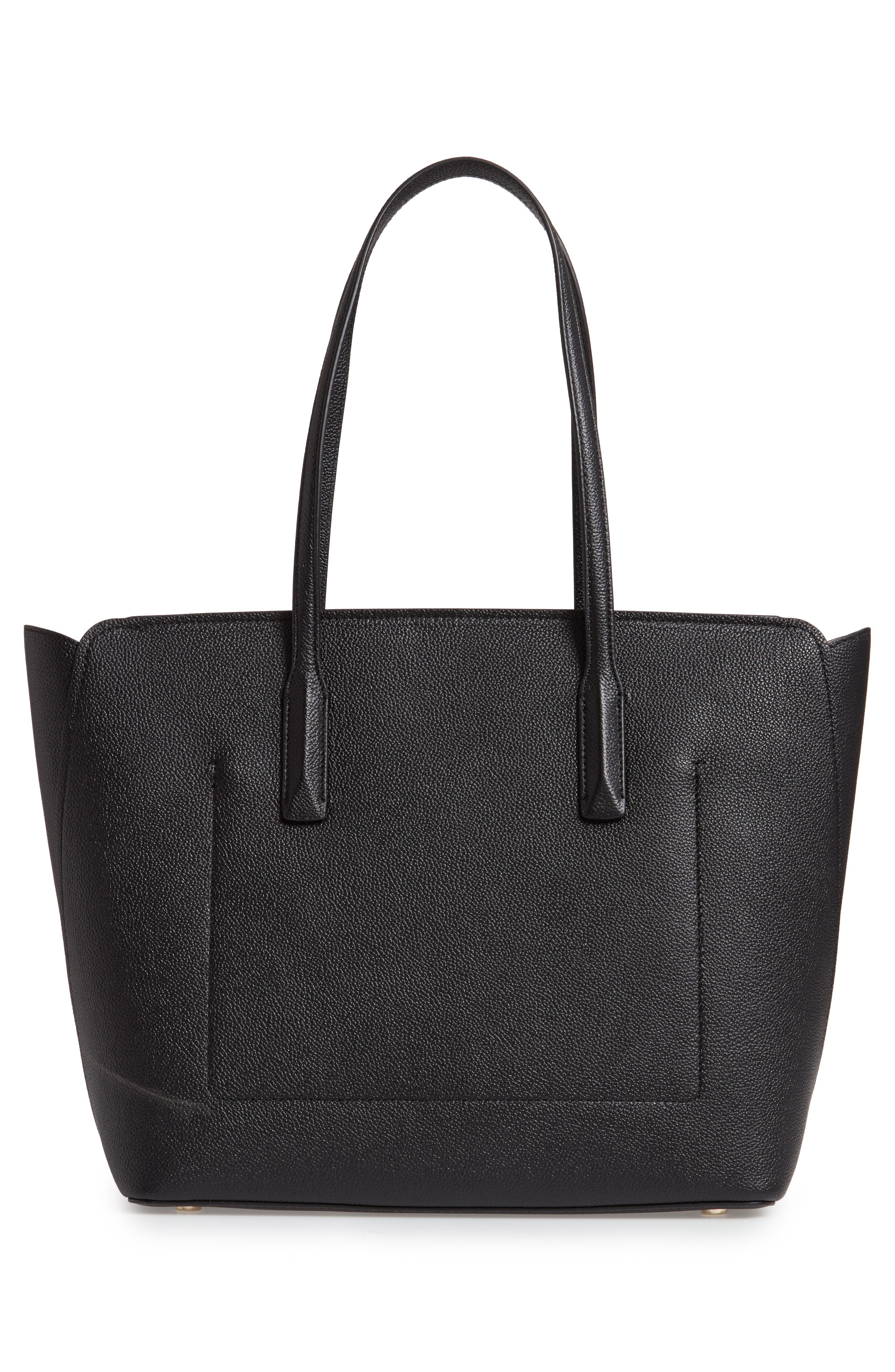 large margaux leather tote,                             Alternate thumbnail 3, color,                             BLACK