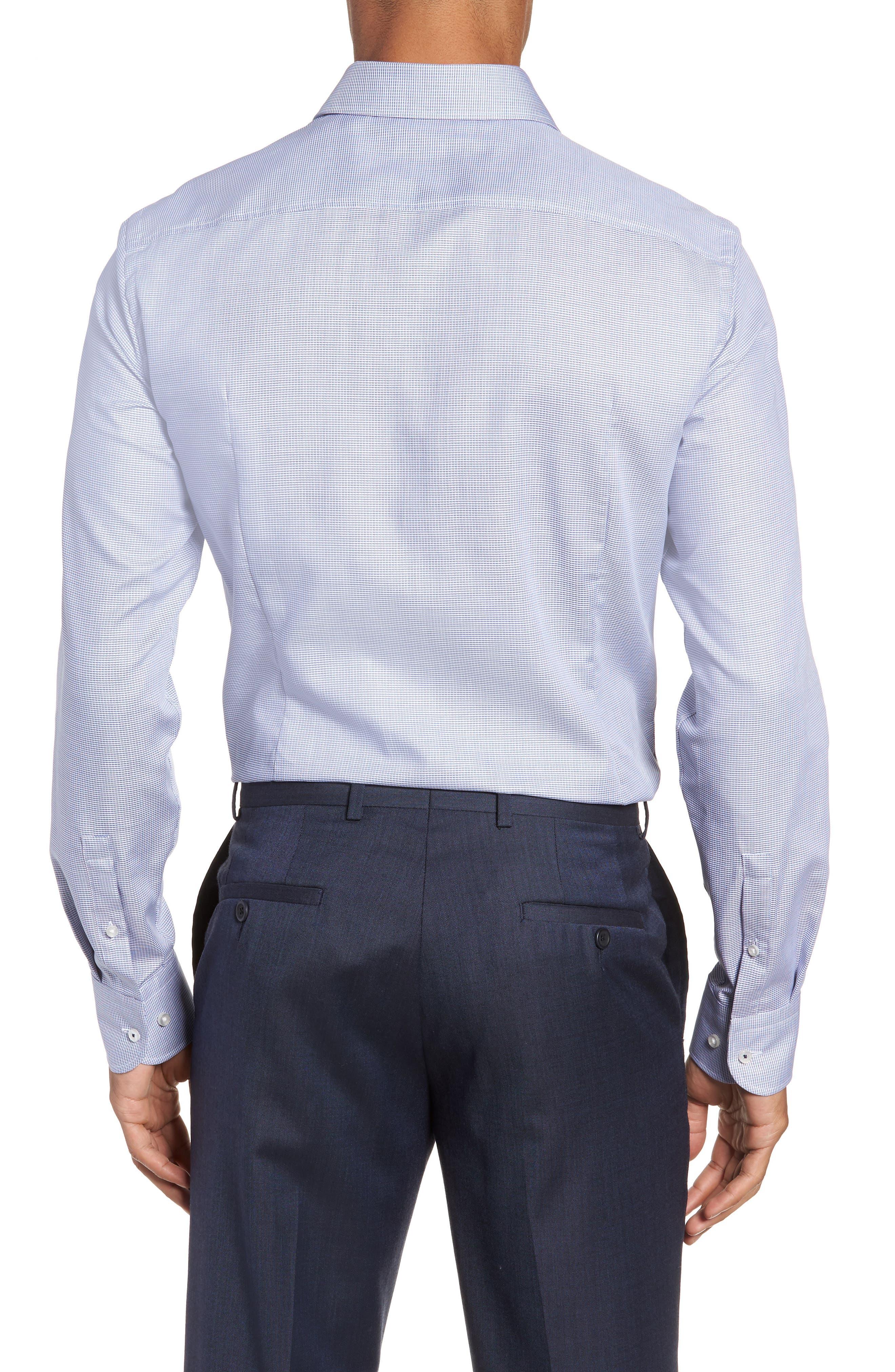 x Nordstrom Jerrin Slim Fit Solid Dress Shirt,                             Alternate thumbnail 3, color,                             BLUE