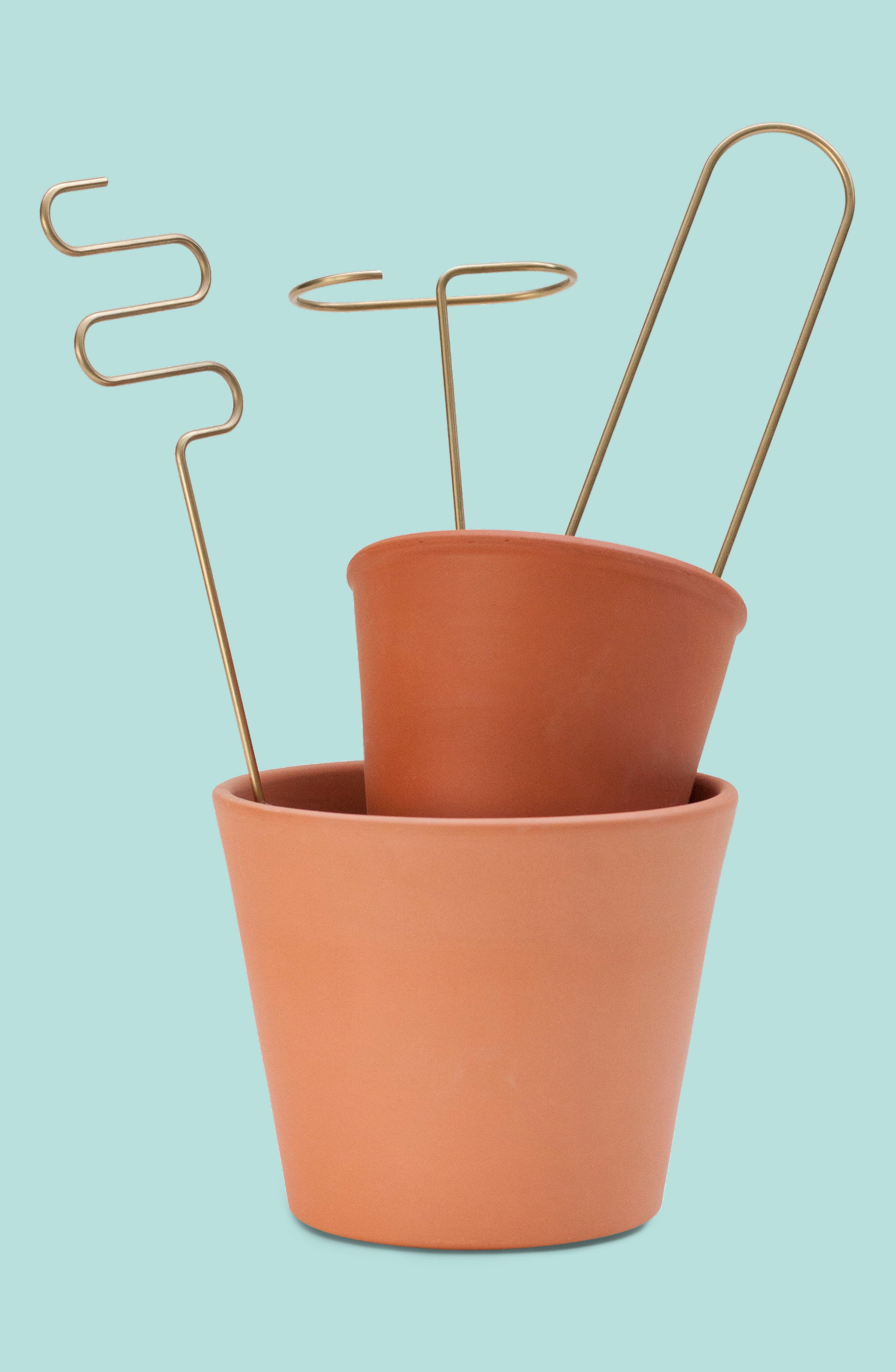 Set of 3 Plant Sticks,                             Main thumbnail 1, color,                             BRASS