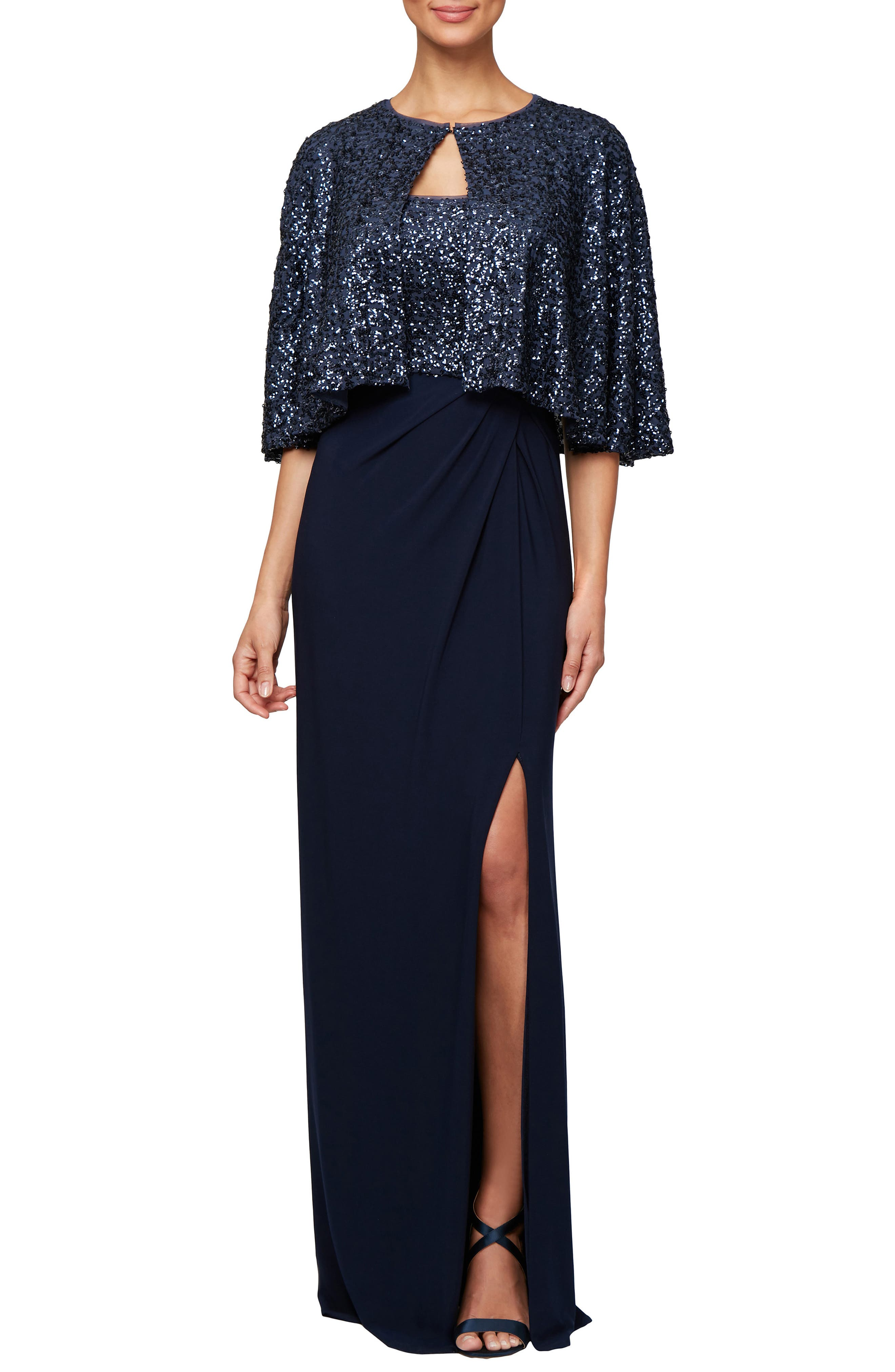 Alex Evenings Sequin Gown & Capelet, Blue