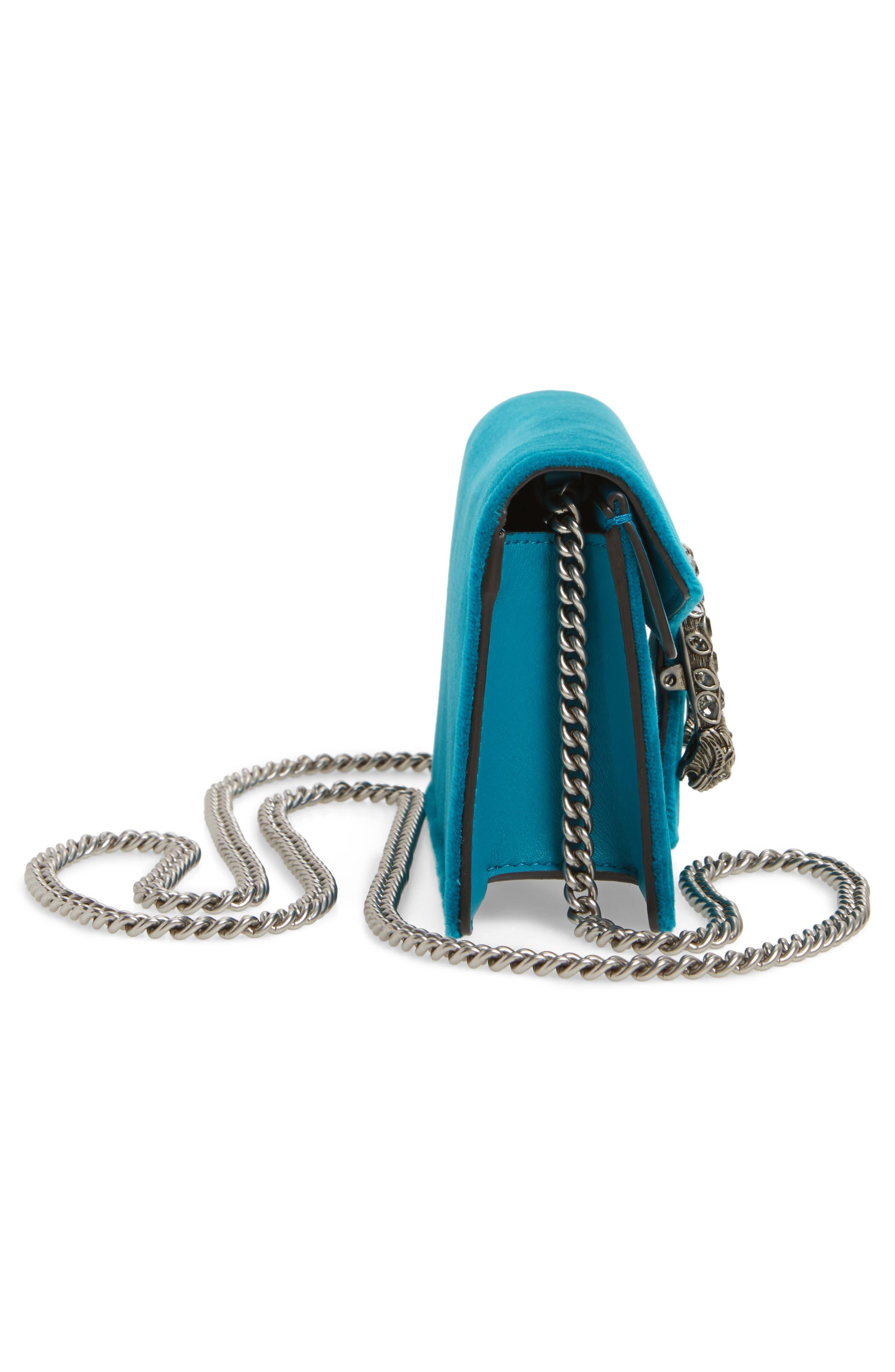 Super Mini Dionysus Velvet Shoulder Bag,                             Alternate thumbnail 5, color,                             PIVONE