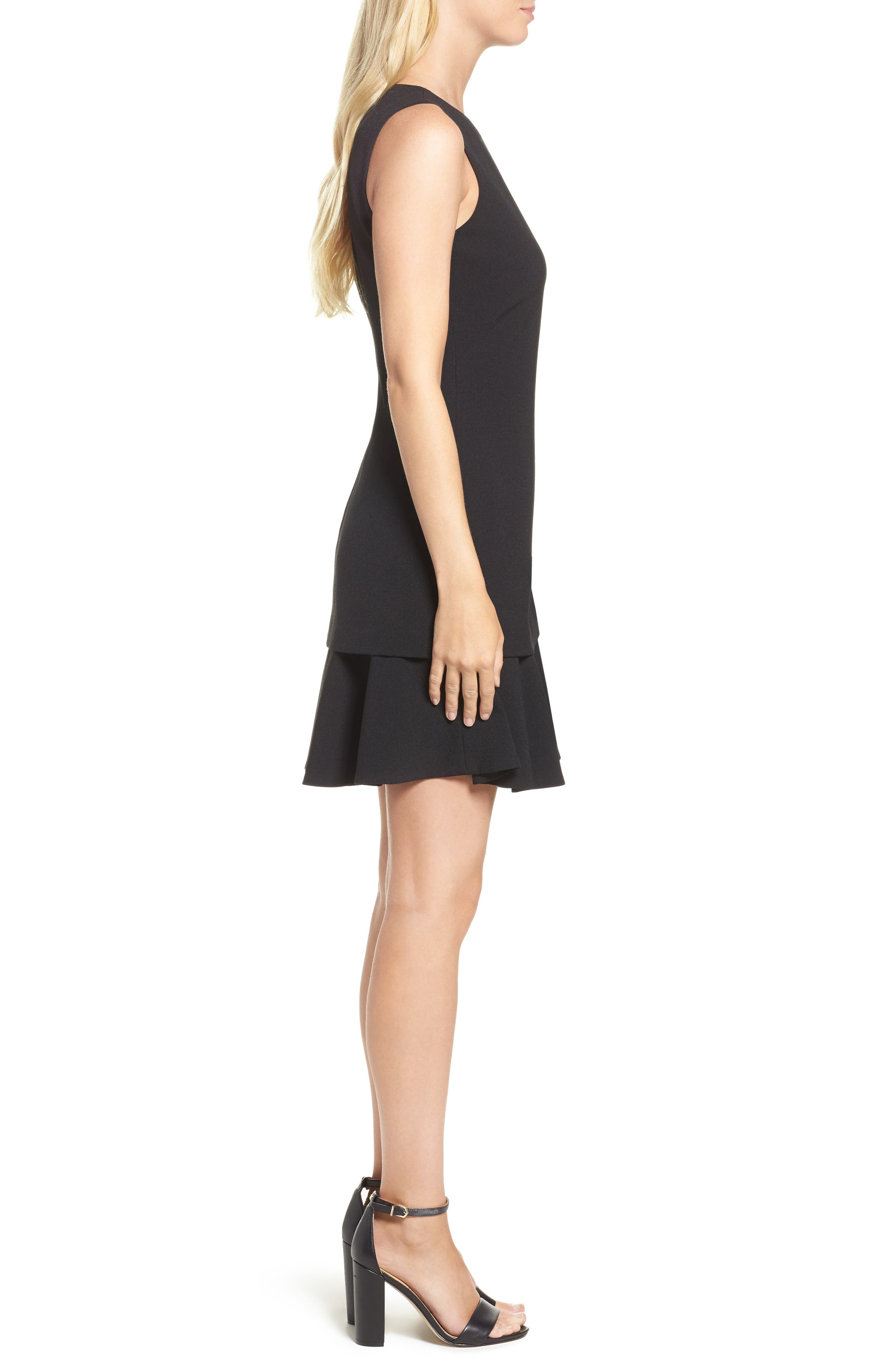 Crepe Fit & Flare Dress,                             Alternate thumbnail 3, color,                             001