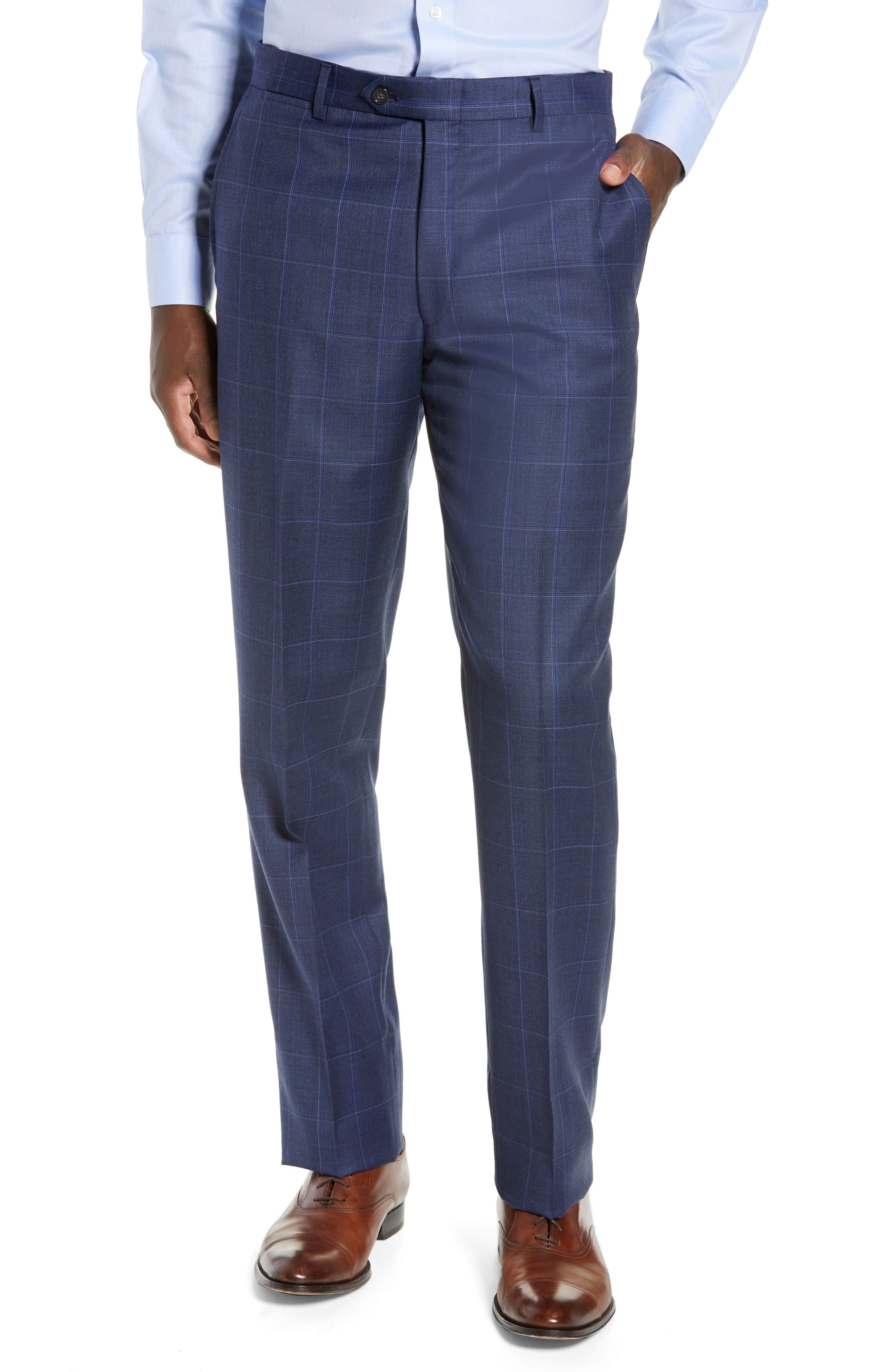 New York Classic Fit Windowpane Wool Suit,                             Alternate thumbnail 6, color,                             420