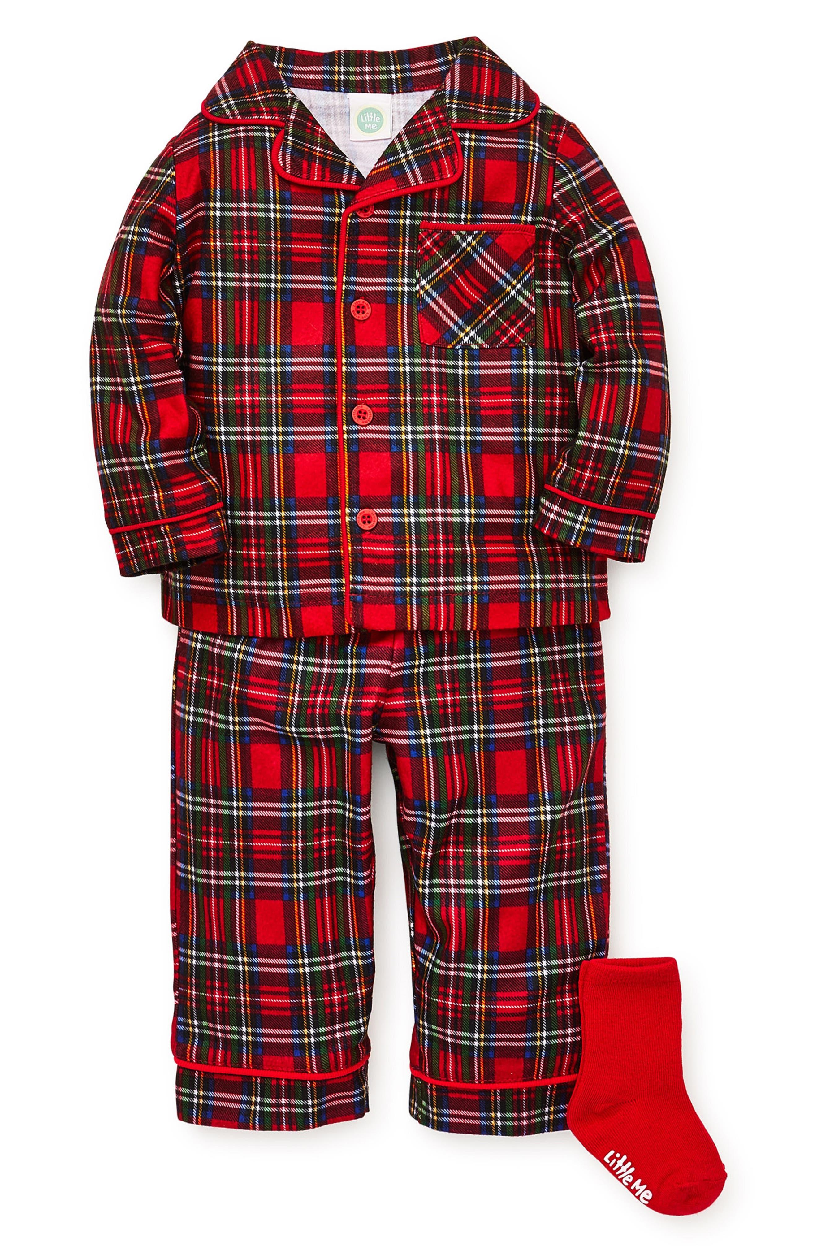 Toddler Boys Little Me Plaid TwoPiece Pajamas  Socks Set Size 4T  Red
