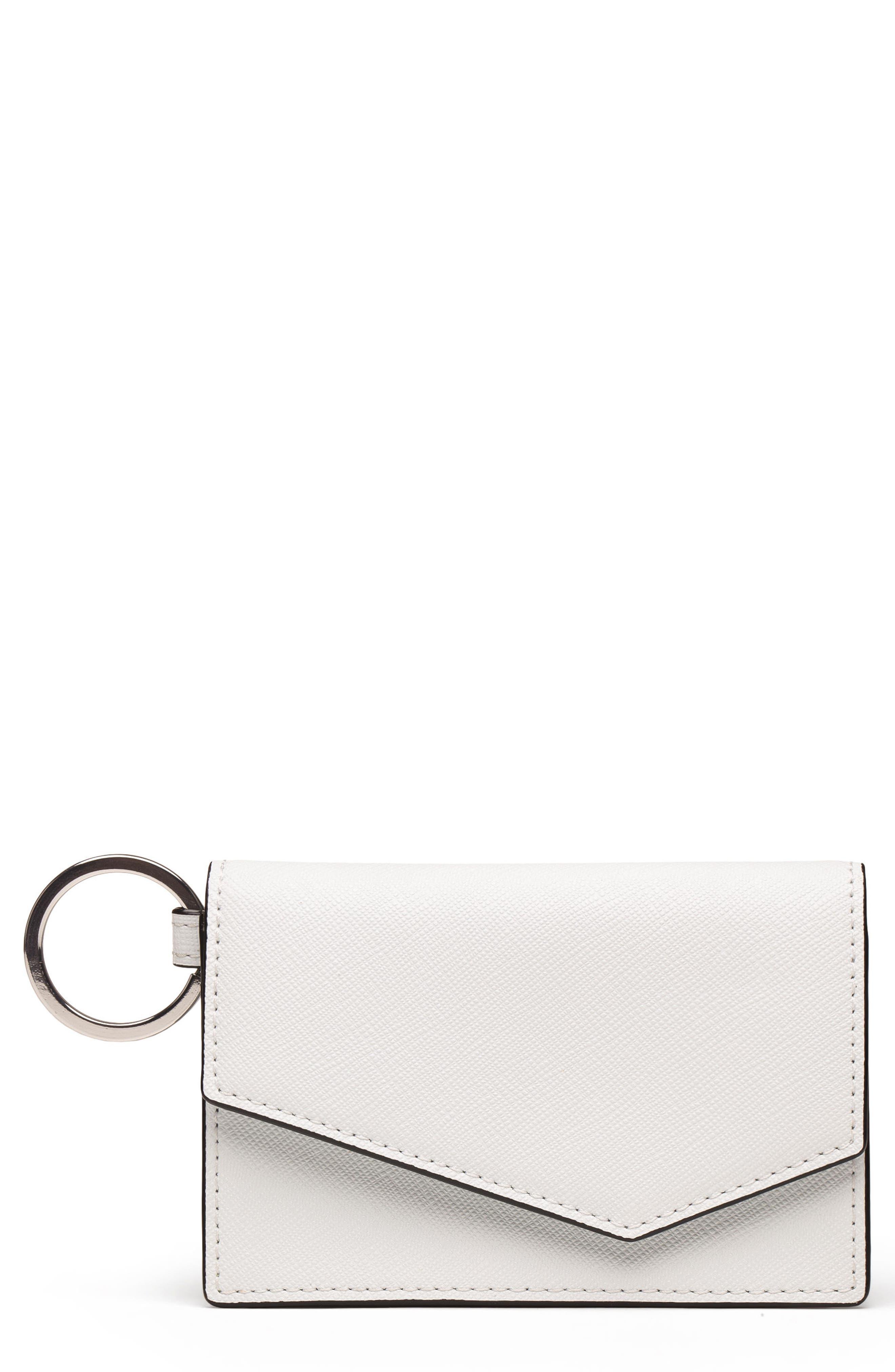Cobble Hill Saffiano Leather Card Case,                             Main thumbnail 1, color,                             CHALK