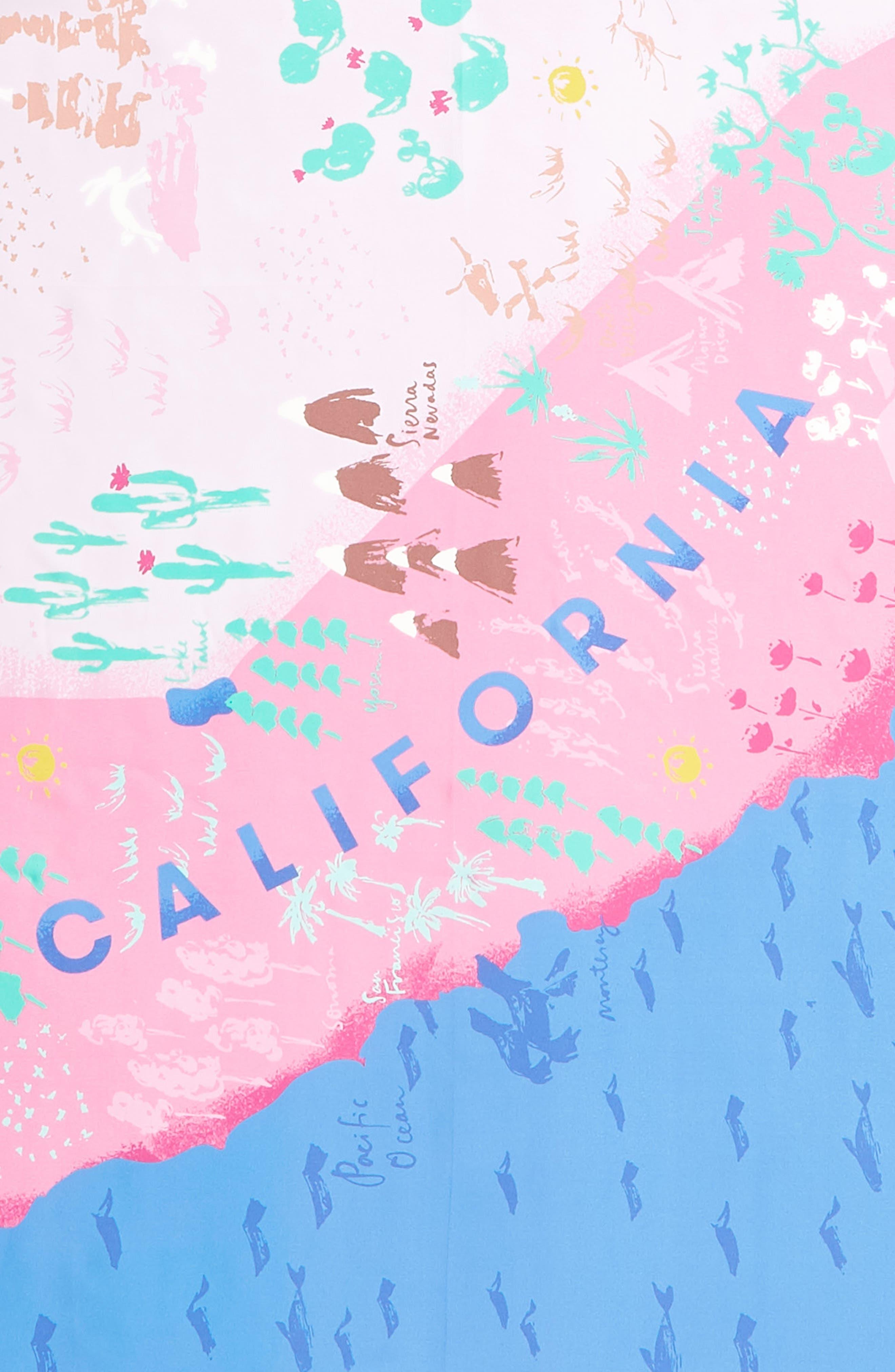 california map square silk scarf,                             Alternate thumbnail 4, color,                             501