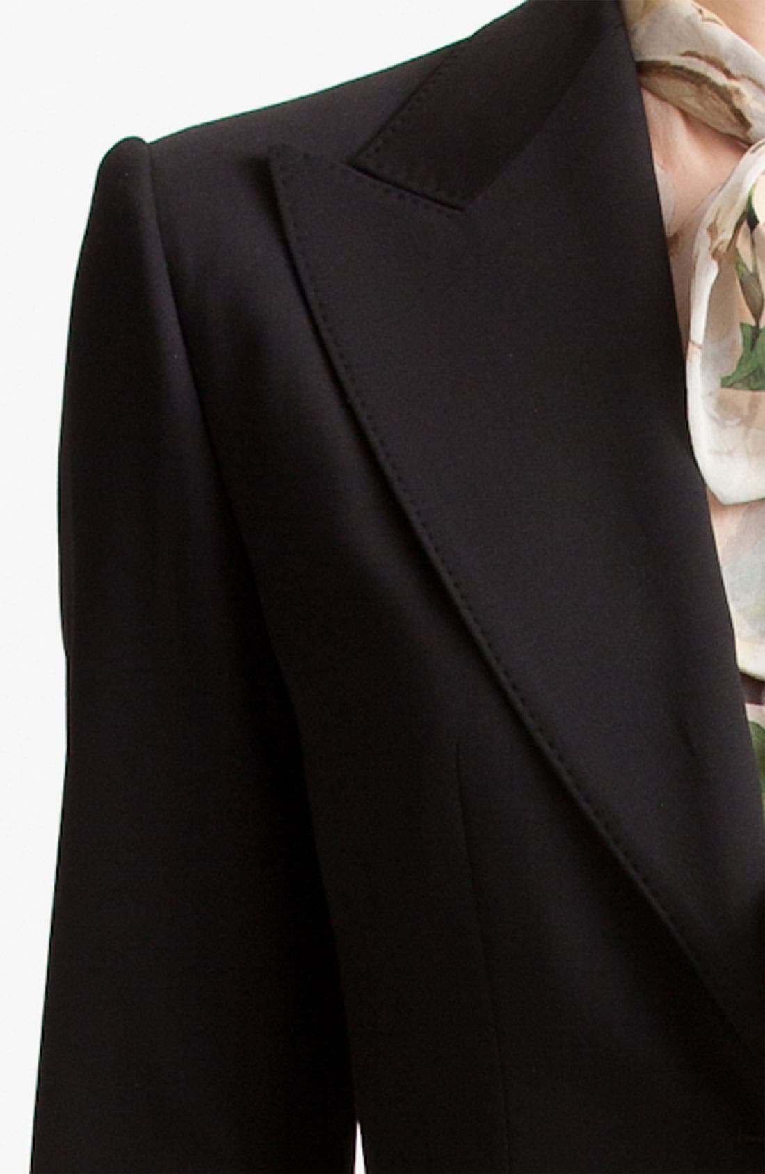 Two Button Stretch Wool Jacket,                             Alternate thumbnail 12, color,                             BLACK