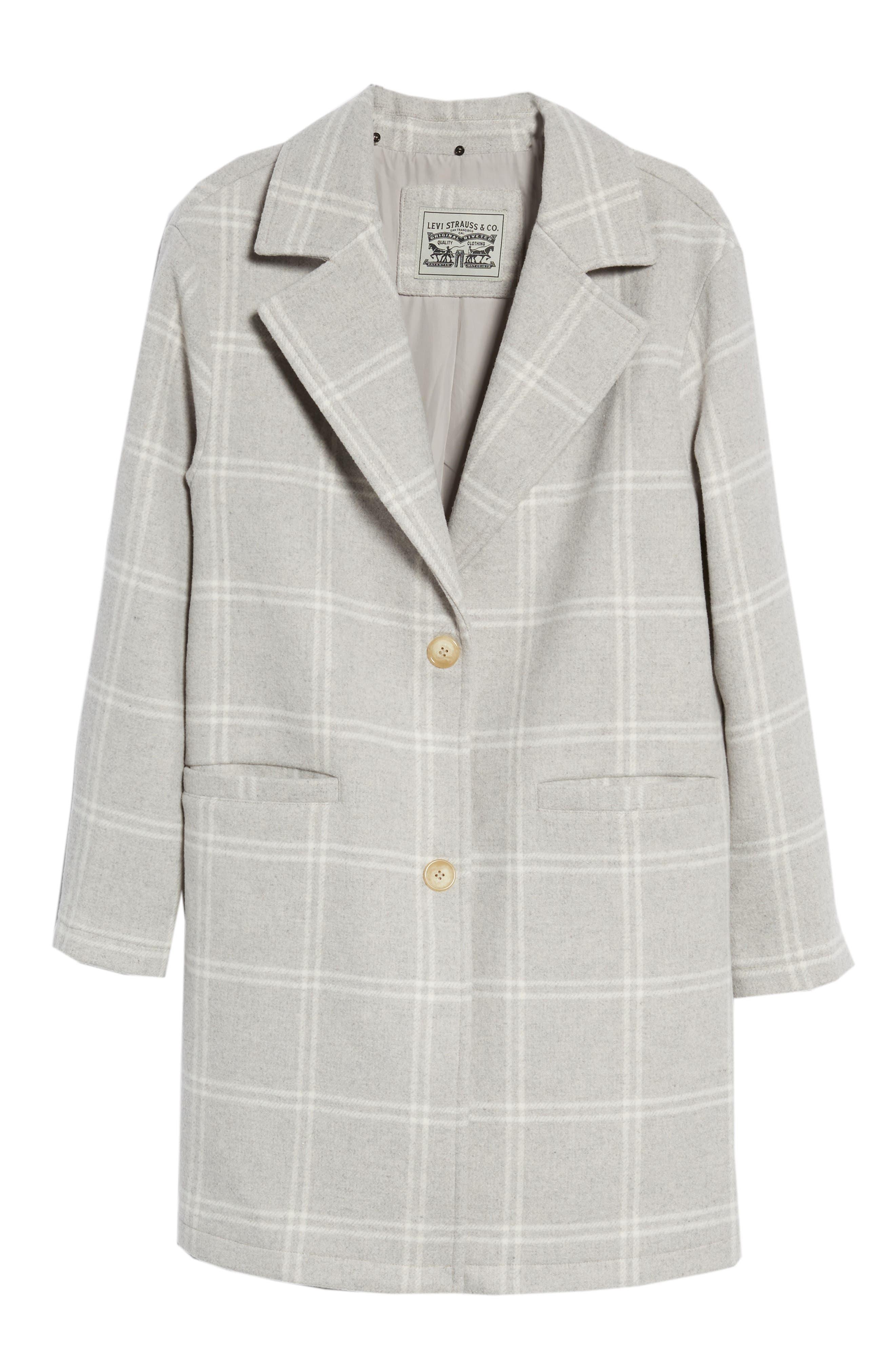 Wool Top Coat,                             Alternate thumbnail 6, color,                             GREY PLAID WOOL