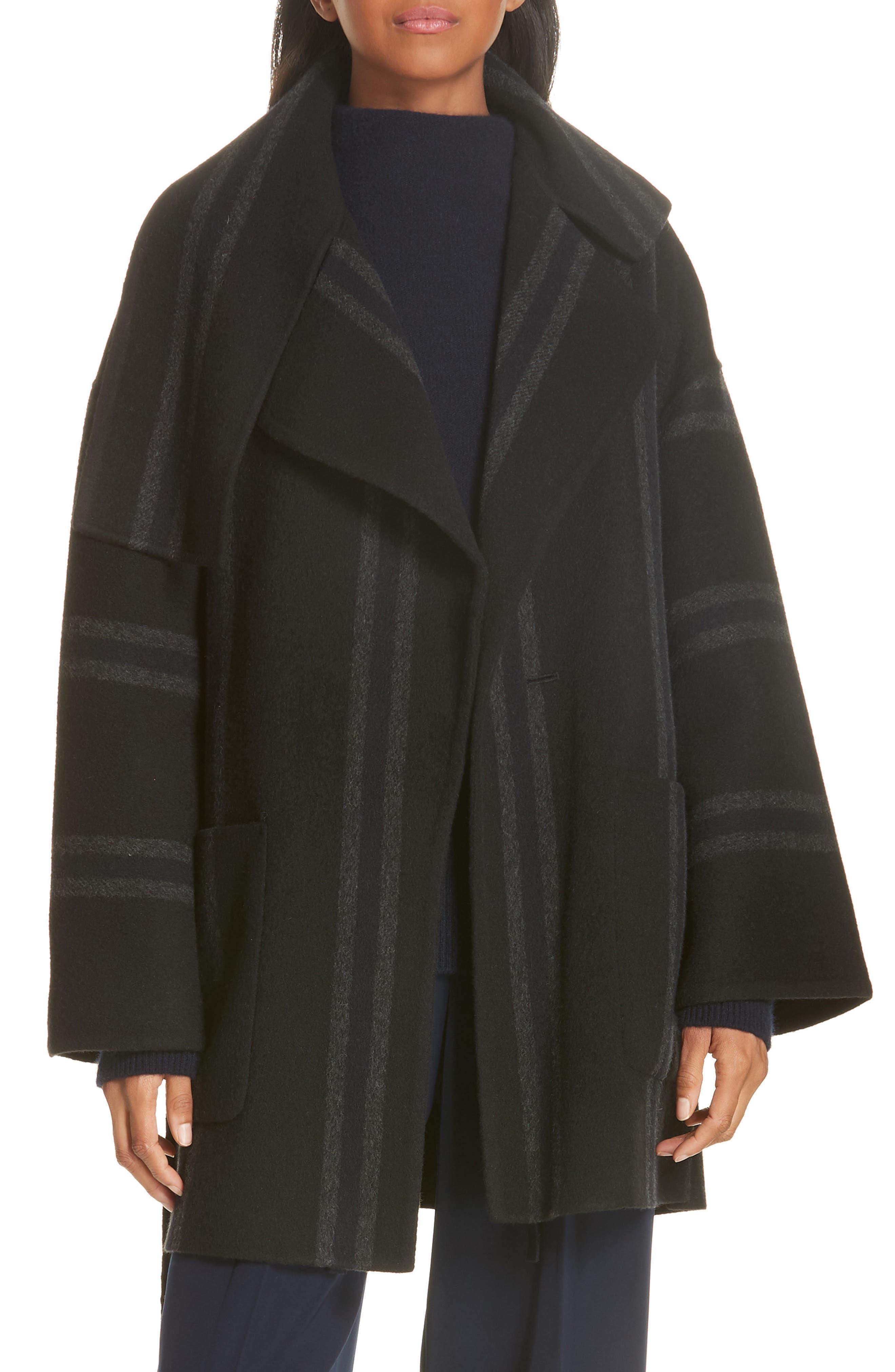 Stripe Blanket Coat,                         Main,                         color, ONYX