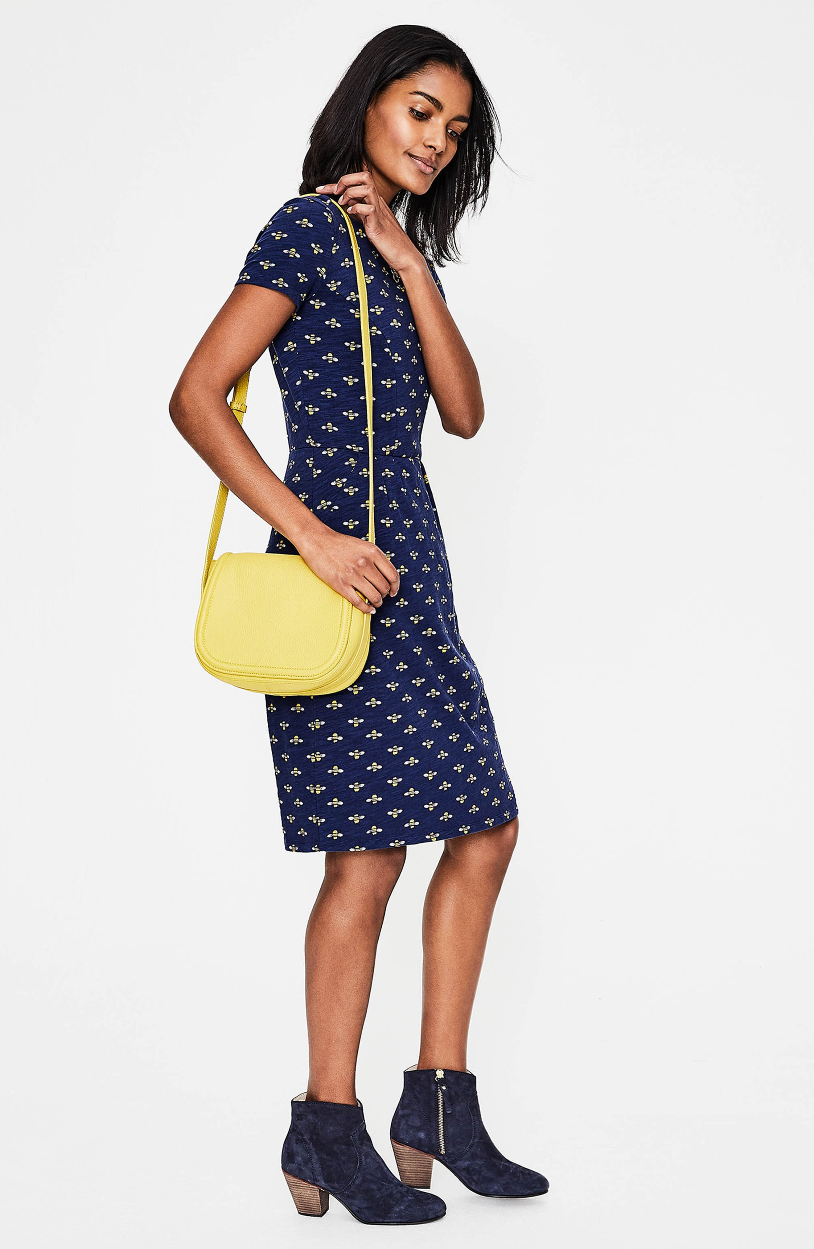 Phoebe Bird Print Jersey Dress,                             Alternate thumbnail 5, color,                             404