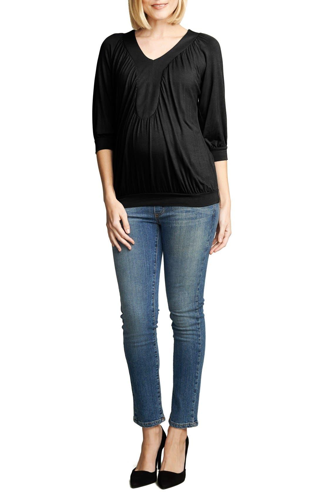 Ruched Dolman Top, Main, color, BLACK