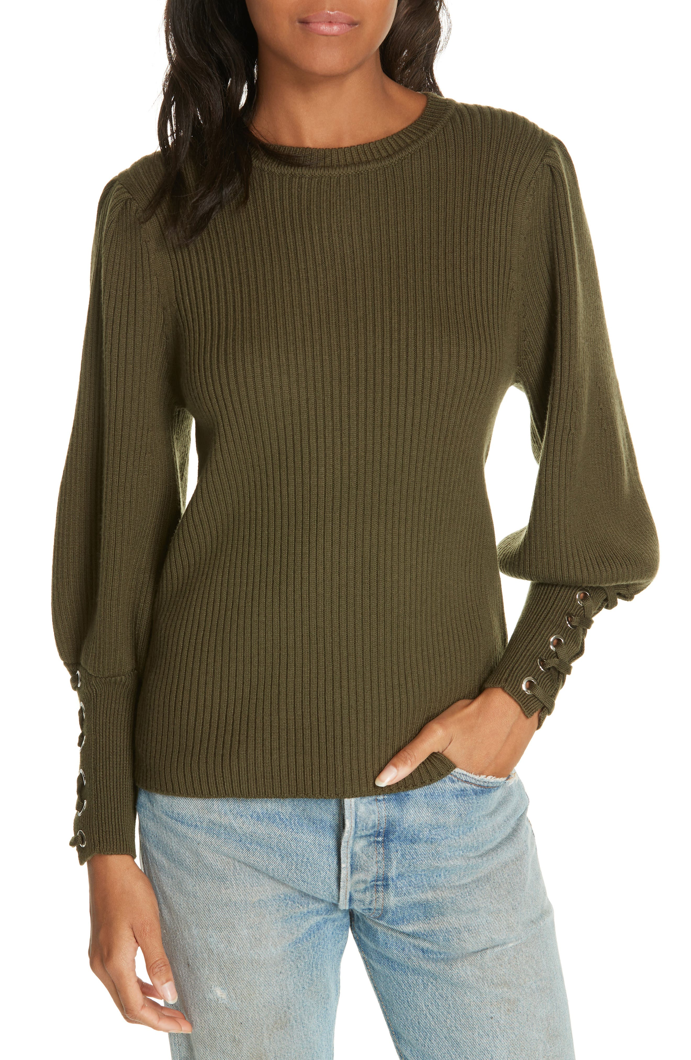 Zelie Lace-Up Cuff Wool Sweater,                             Main thumbnail 1, color,                             KAKI
