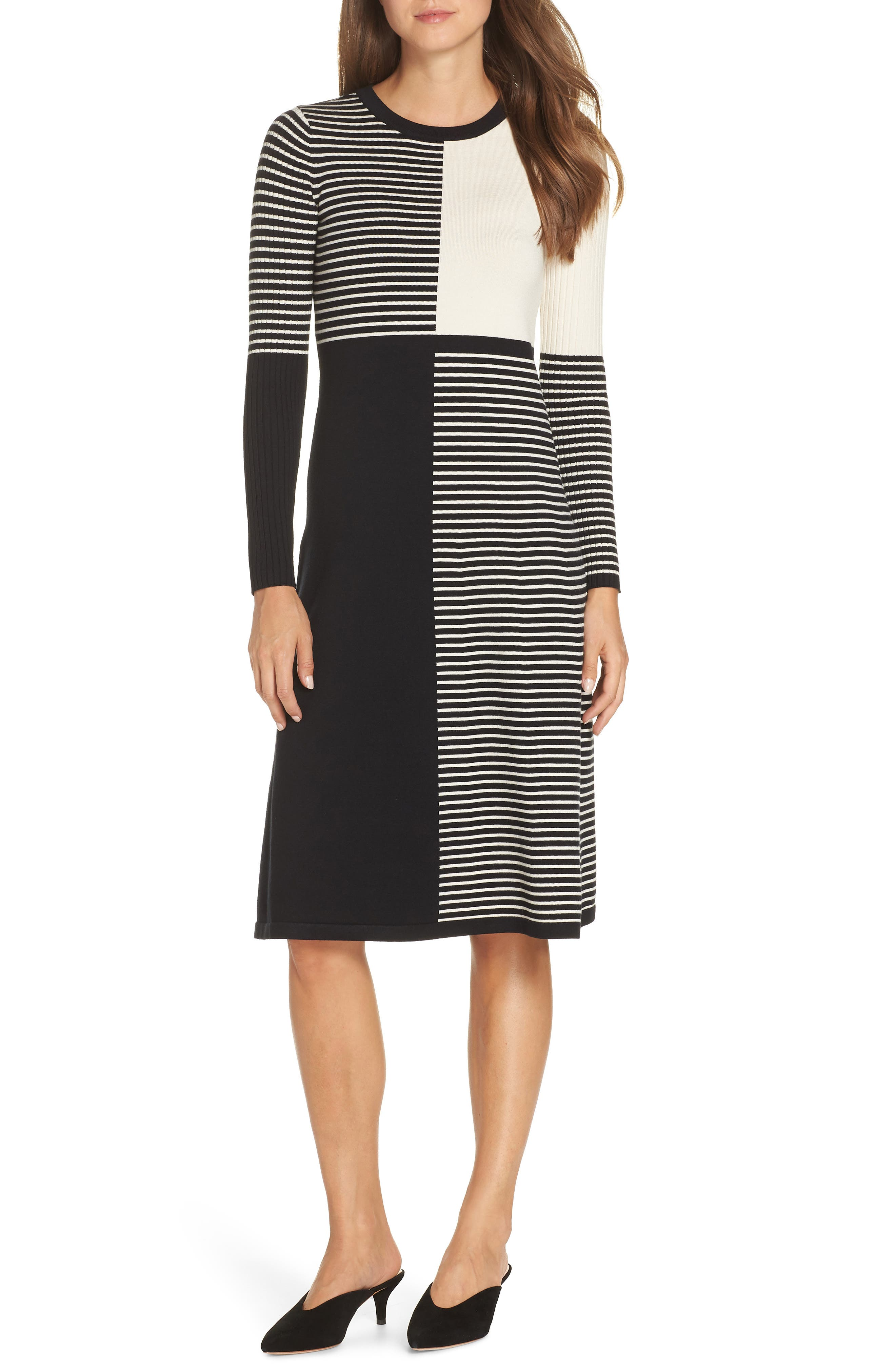 Petite Eliza J Placed Stripe Sweater Dress, Ivory