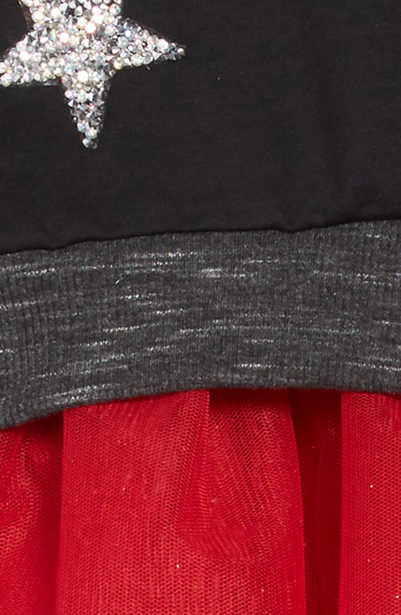 Believe Sequin Appliqué Sweatshirt & Tulle Dress Set,                             Alternate thumbnail 4, color,                             BLACK RED