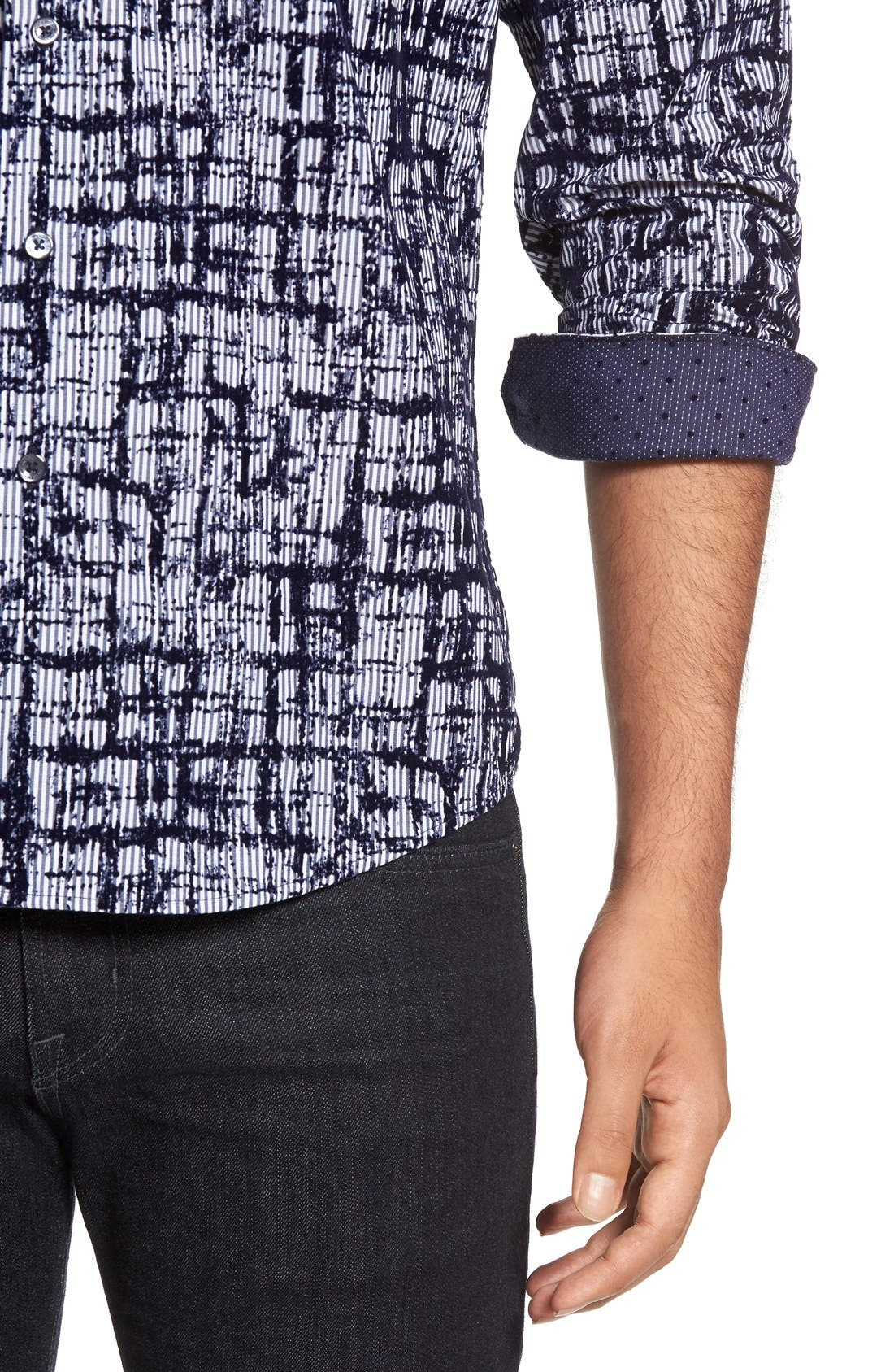 Shaped Fit Sport Shirt,                             Alternate thumbnail 4, color,                             NAVY