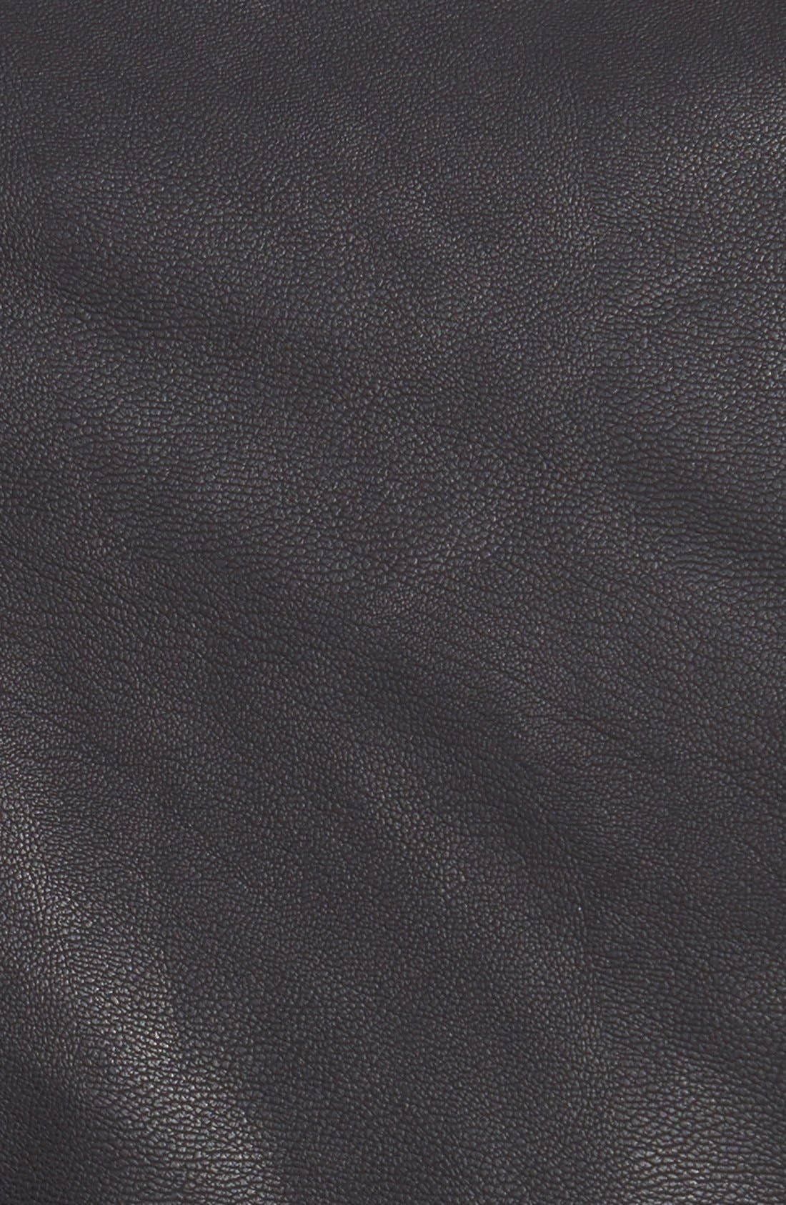 Faux Leather Biker Jacket,                             Alternate thumbnail 5, color,                             001