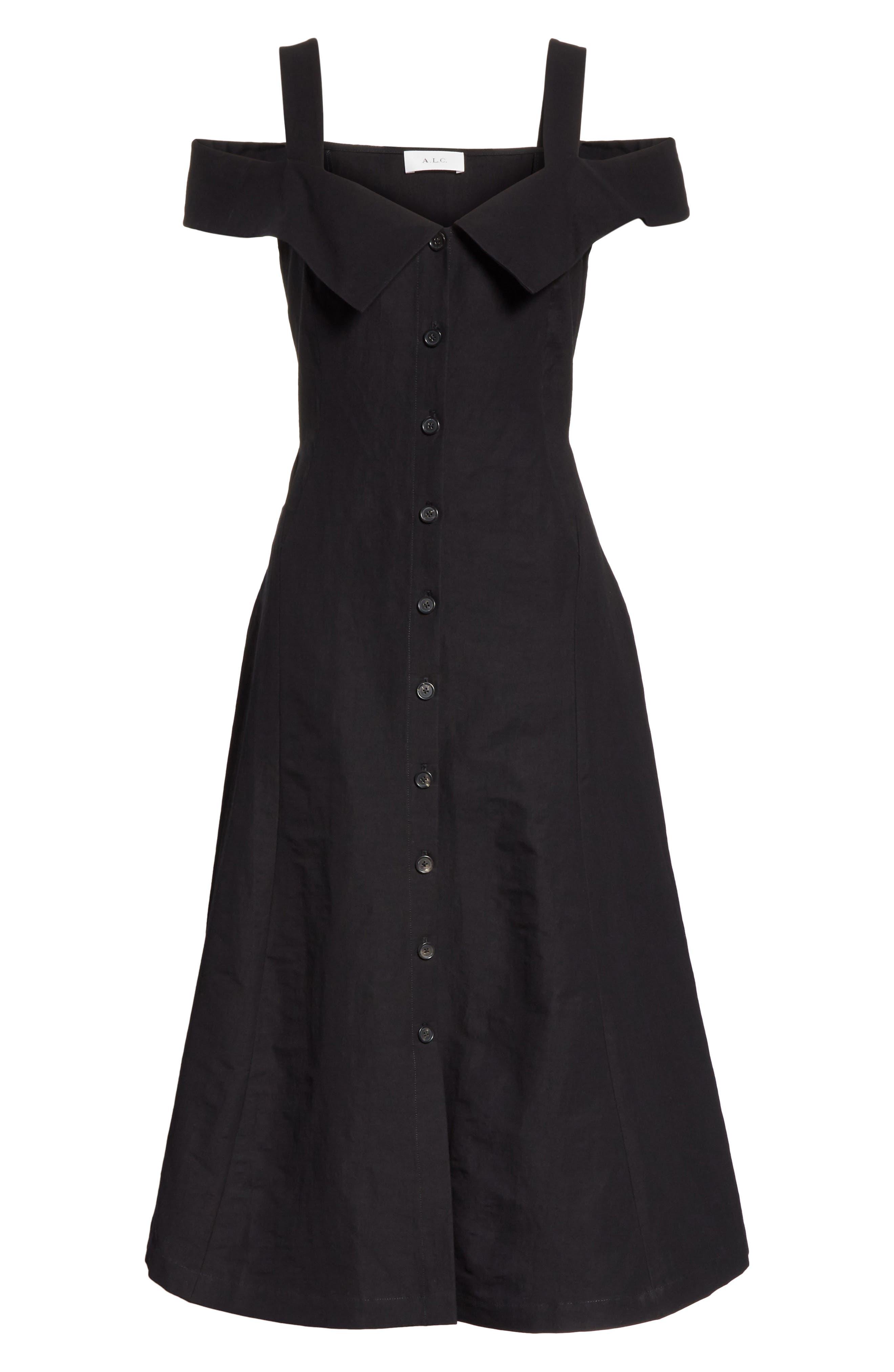 Hudson Cold Shoulder Dress,                             Alternate thumbnail 7, color,                             001
