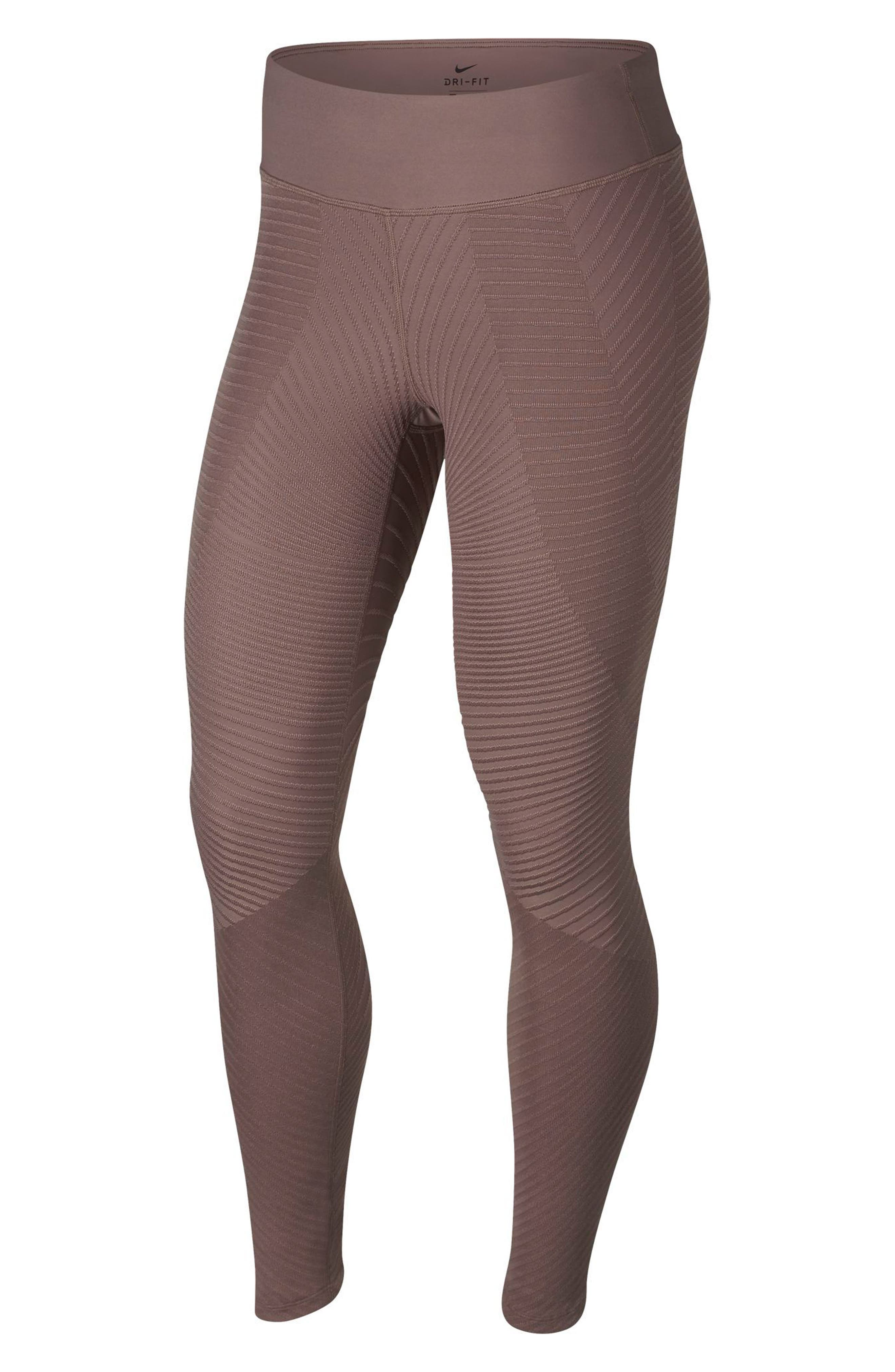 Epic Lux Running Tights,                         Main,                         color, SMOKEY MAUVE/ SILVER