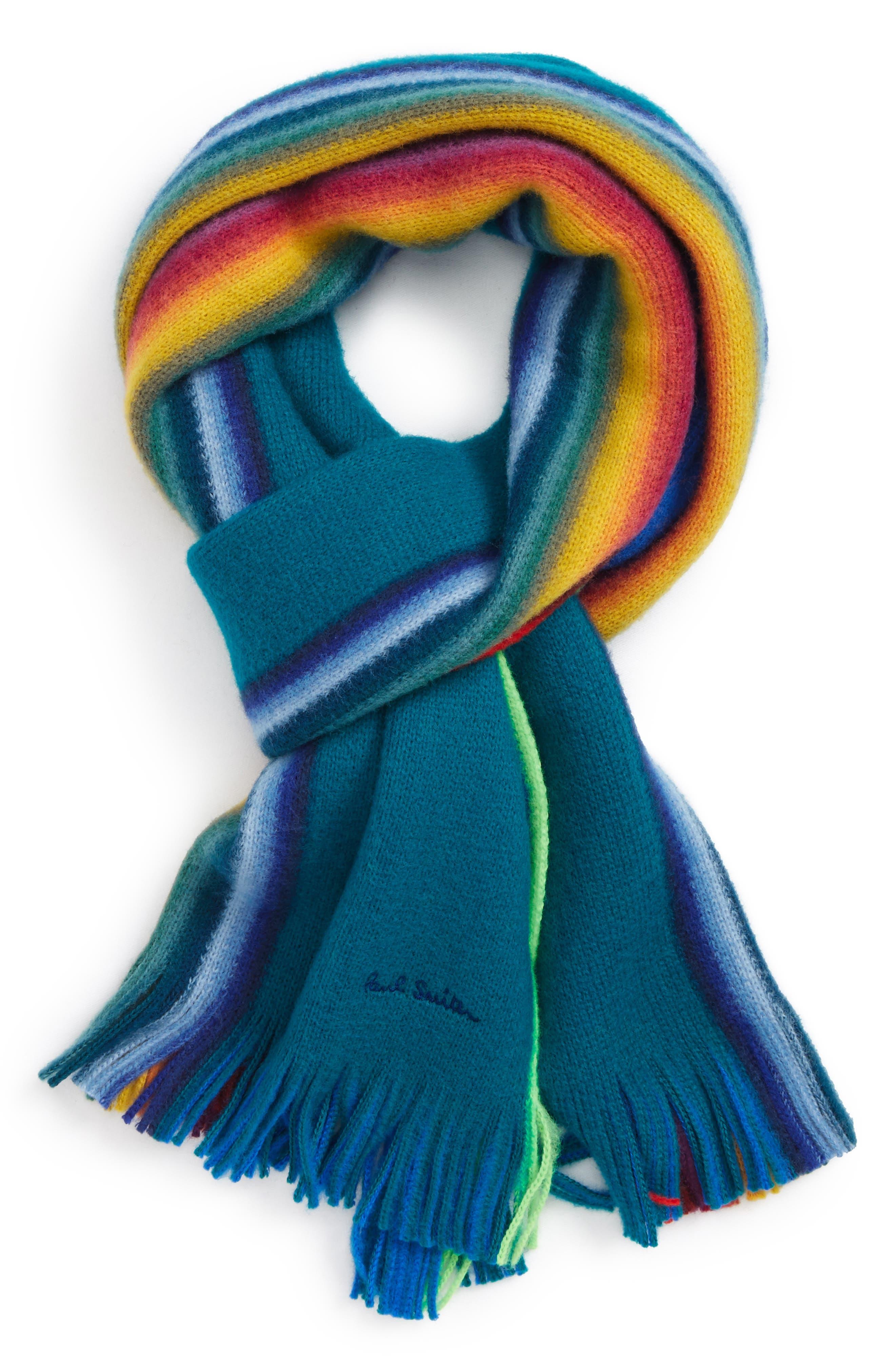 Rainbow Edge Wool Scarf,                             Main thumbnail 3, color,