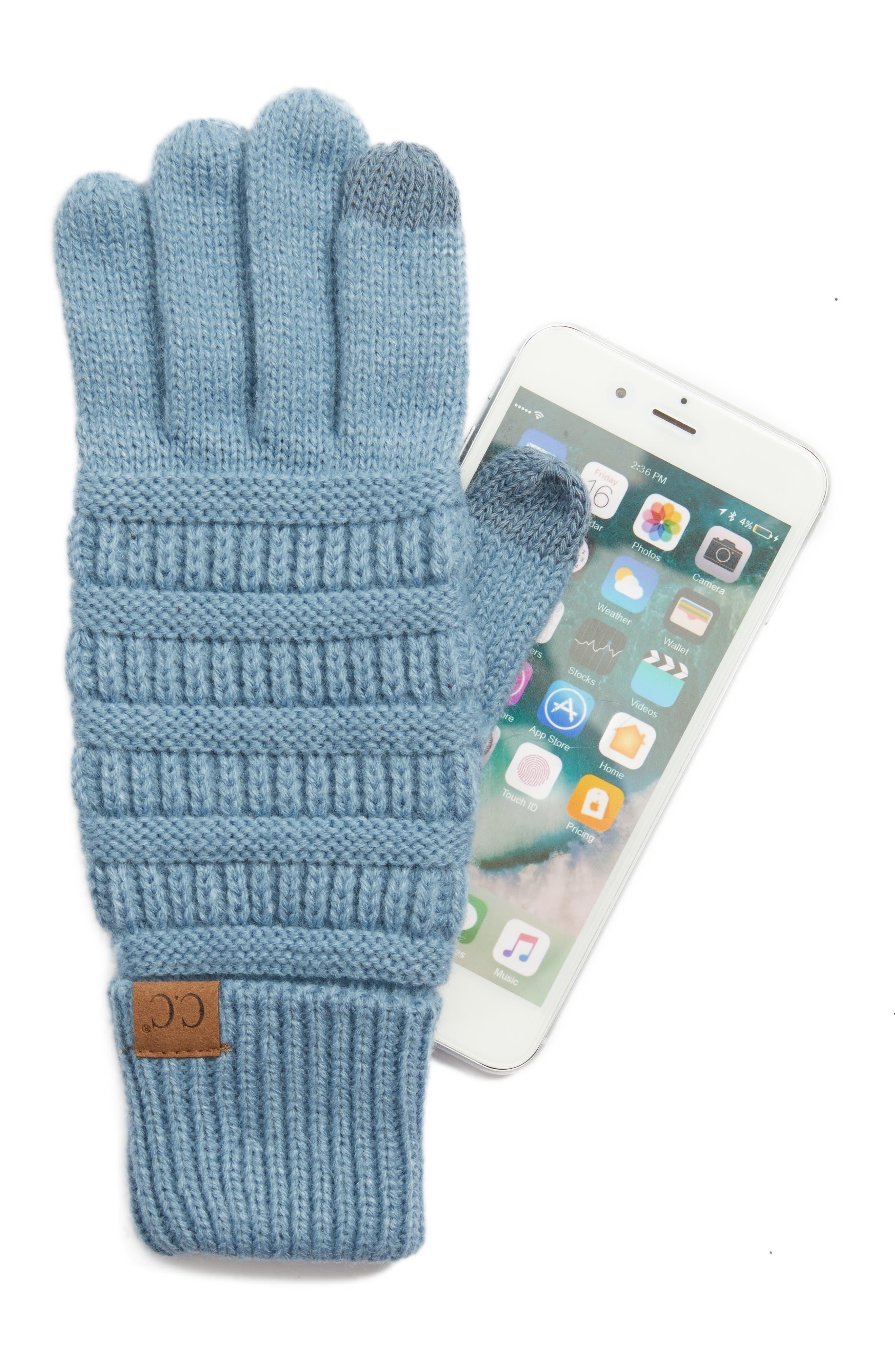 Rib Knit Tech Gloves,                             Alternate thumbnail 11, color,