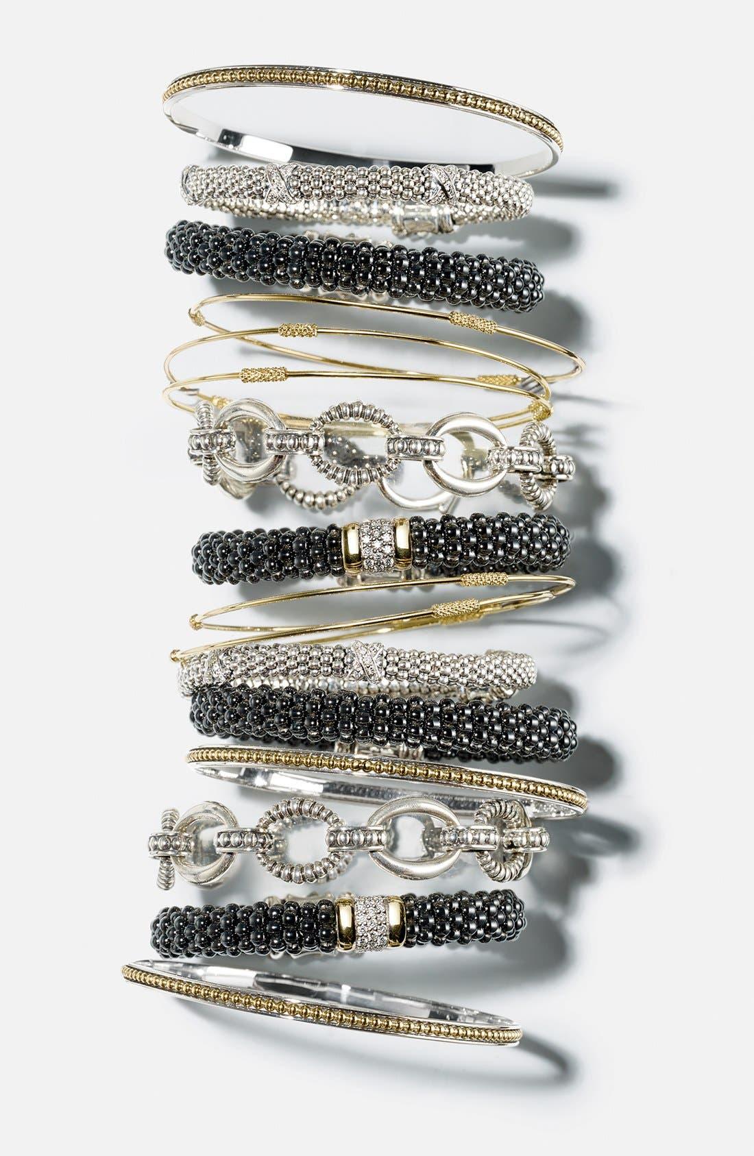 'Signature Caviar' Diamond Rope Bracelet,                             Alternate thumbnail 6, color,                             SILVER/ GOLD