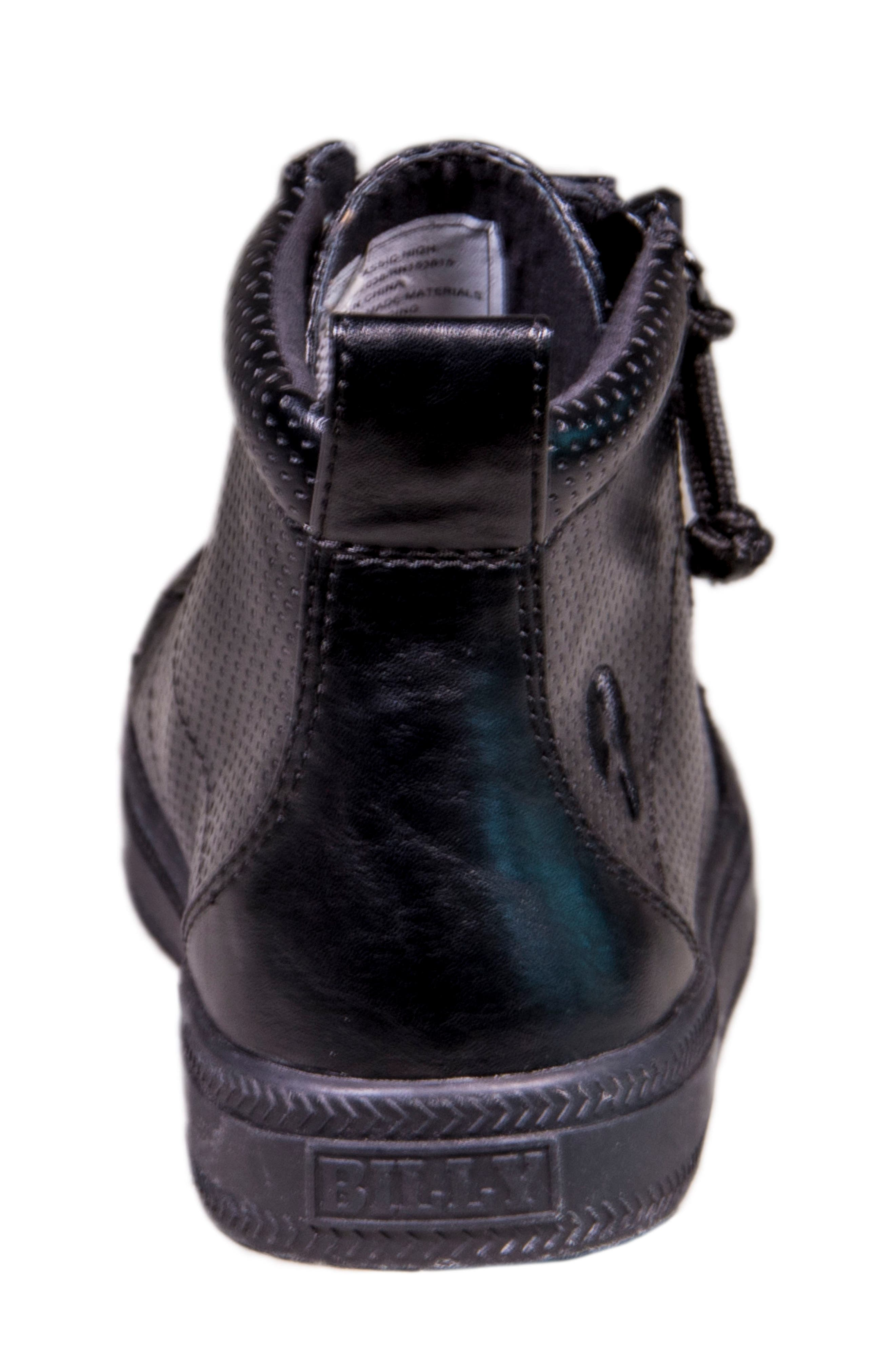Zip Around Perforated High Top Sneaker,                             Alternate thumbnail 7, color,                             001