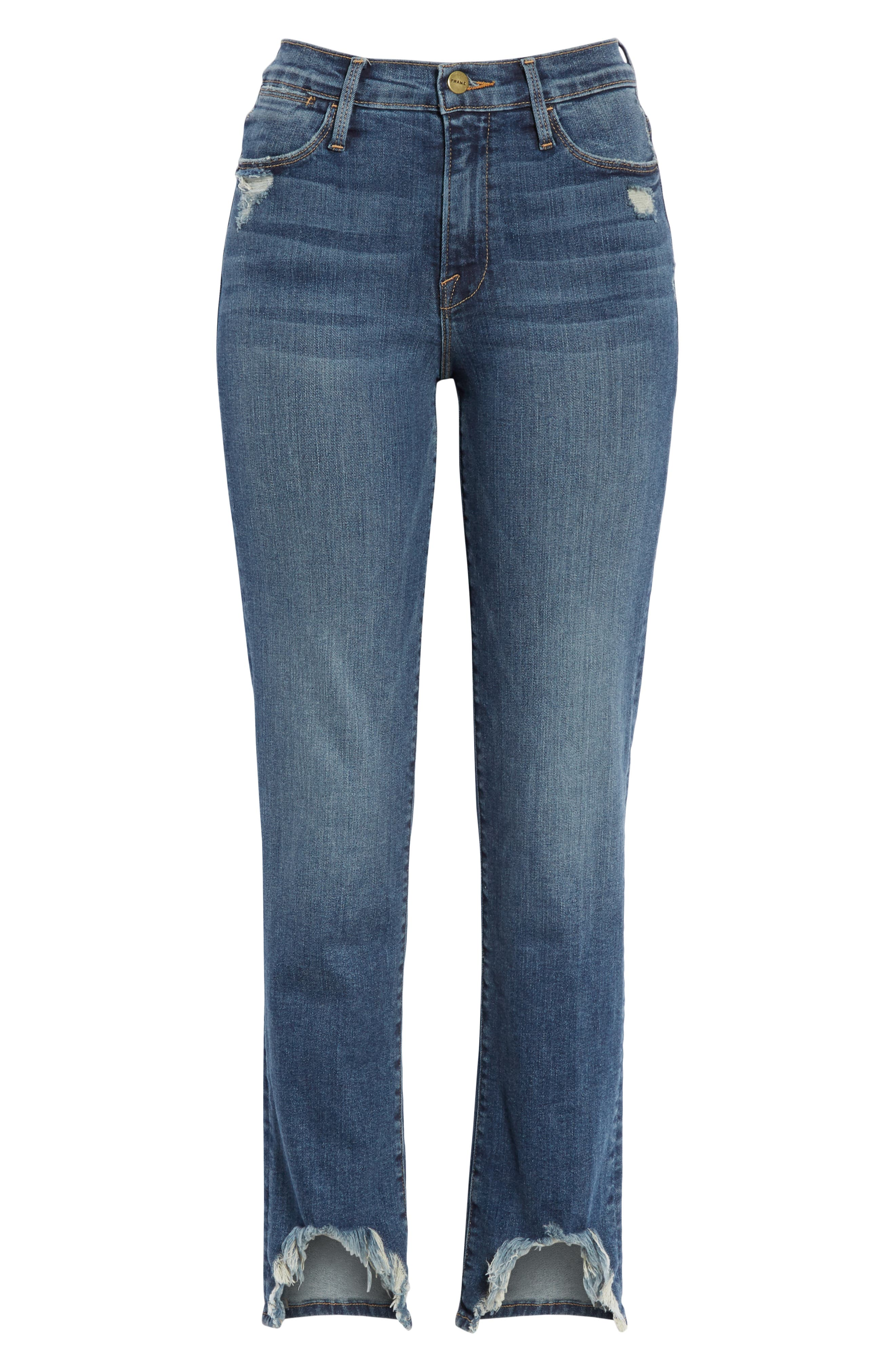 FRAME,                             Le High Straight Curve Hem Jeans,                             Alternate thumbnail 7, color,                             RUE