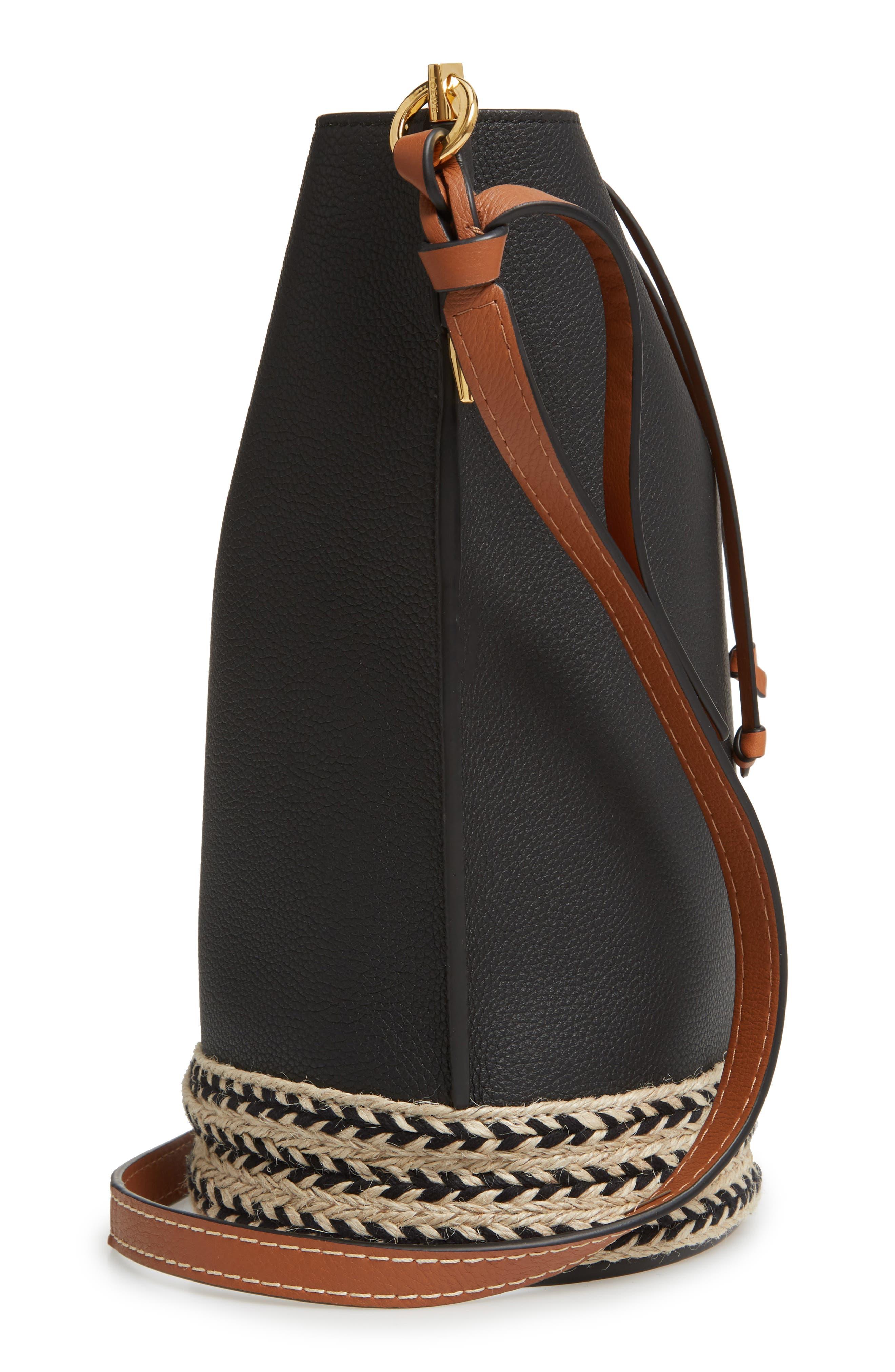 LOEWE,                             Gate Espadrillas Leather Bucket Bag,                             Alternate thumbnail 5, color,                             BLACK