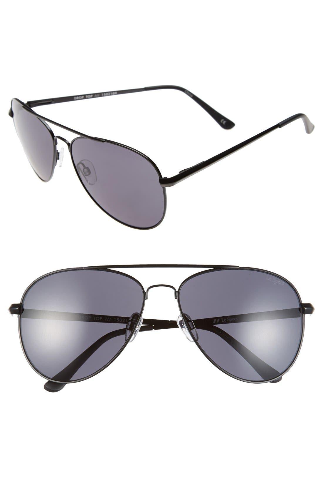 'Drop Top' 60mm Aviator Sunglasses, Main, color, 001